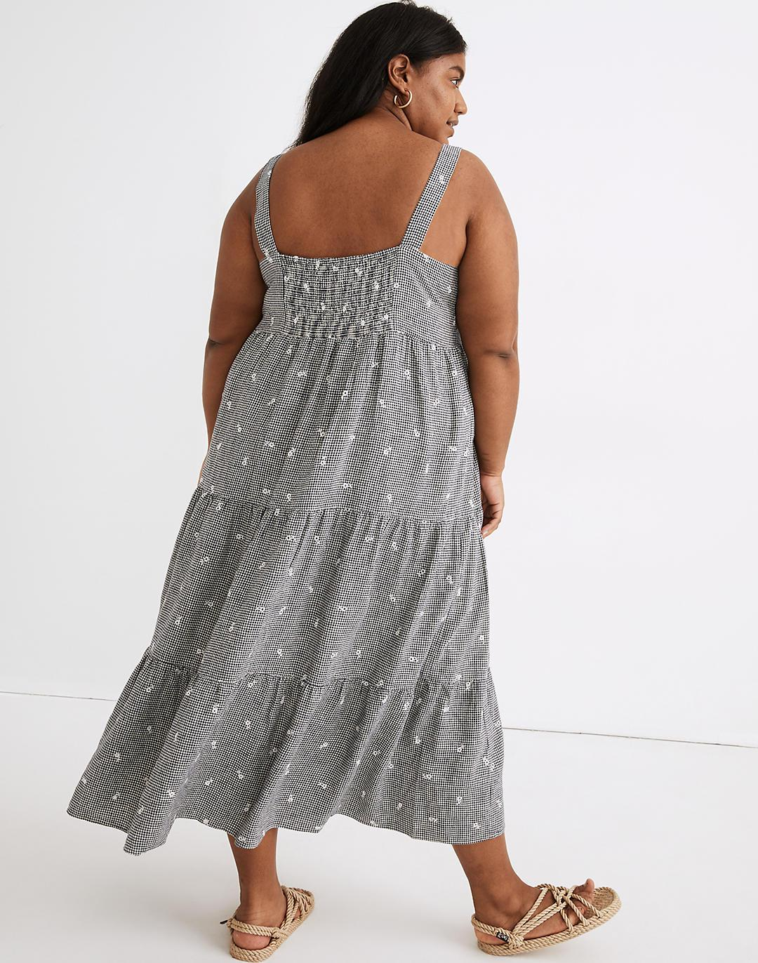 Plus Embroidered Tiered Midi Dress in Gingham Check 2