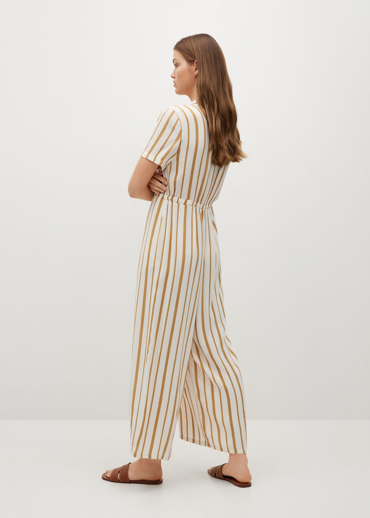 Striped jumpsuit with belt 2