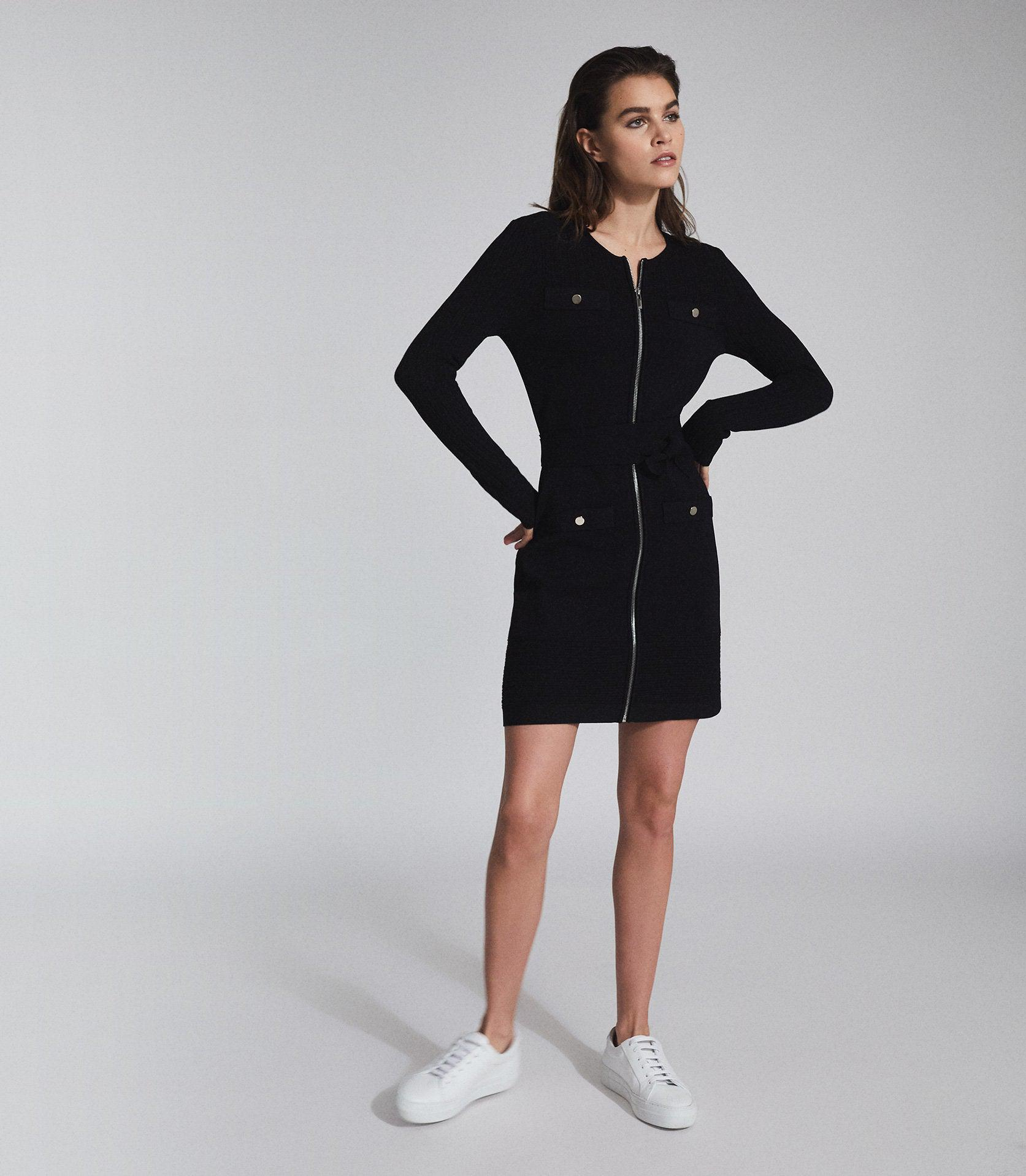 EMILY - KNITTED MINI DRESS WITH ZIP DETAIL