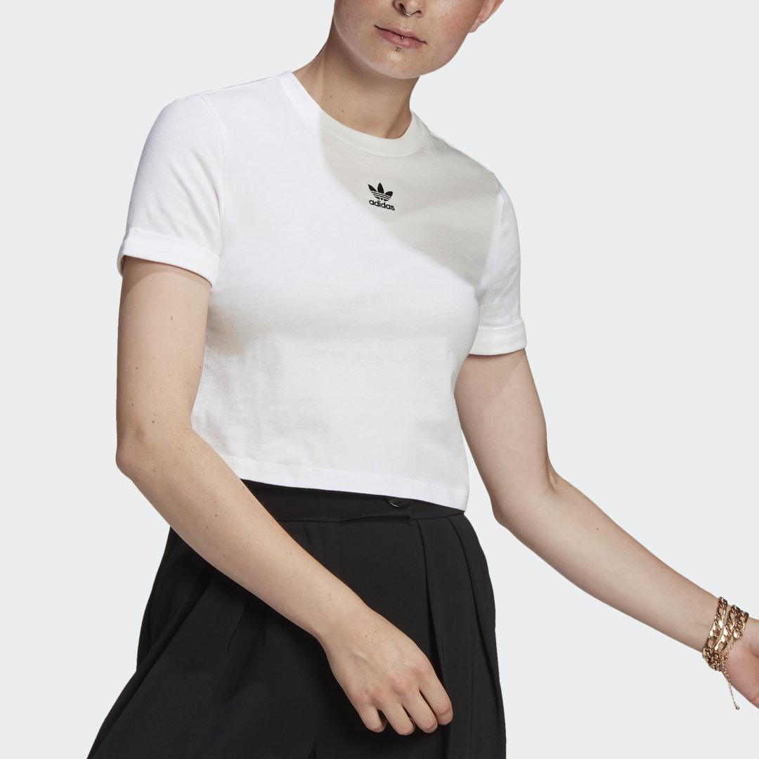 Adicolor Classics Roll-Up Sleeve Crop Top White 2