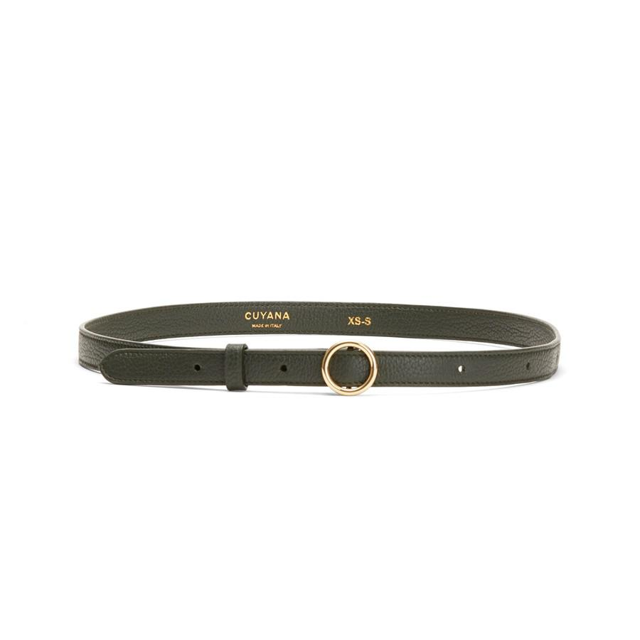 Women's Circle Buckle Belt in Forest | Size: XL | Leather by Cuyana