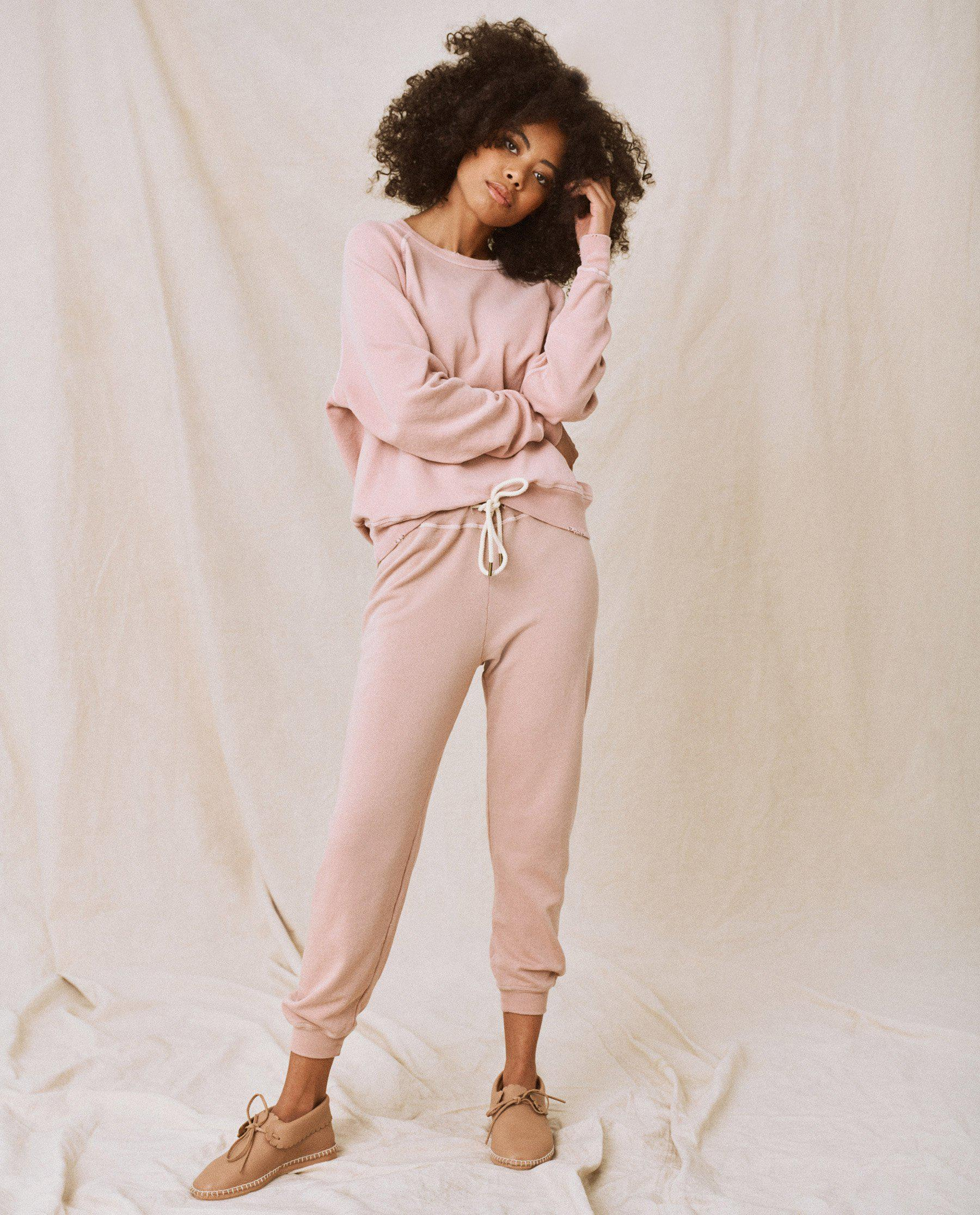 The Cropped Sweatpant. Solid -- Carnation 1