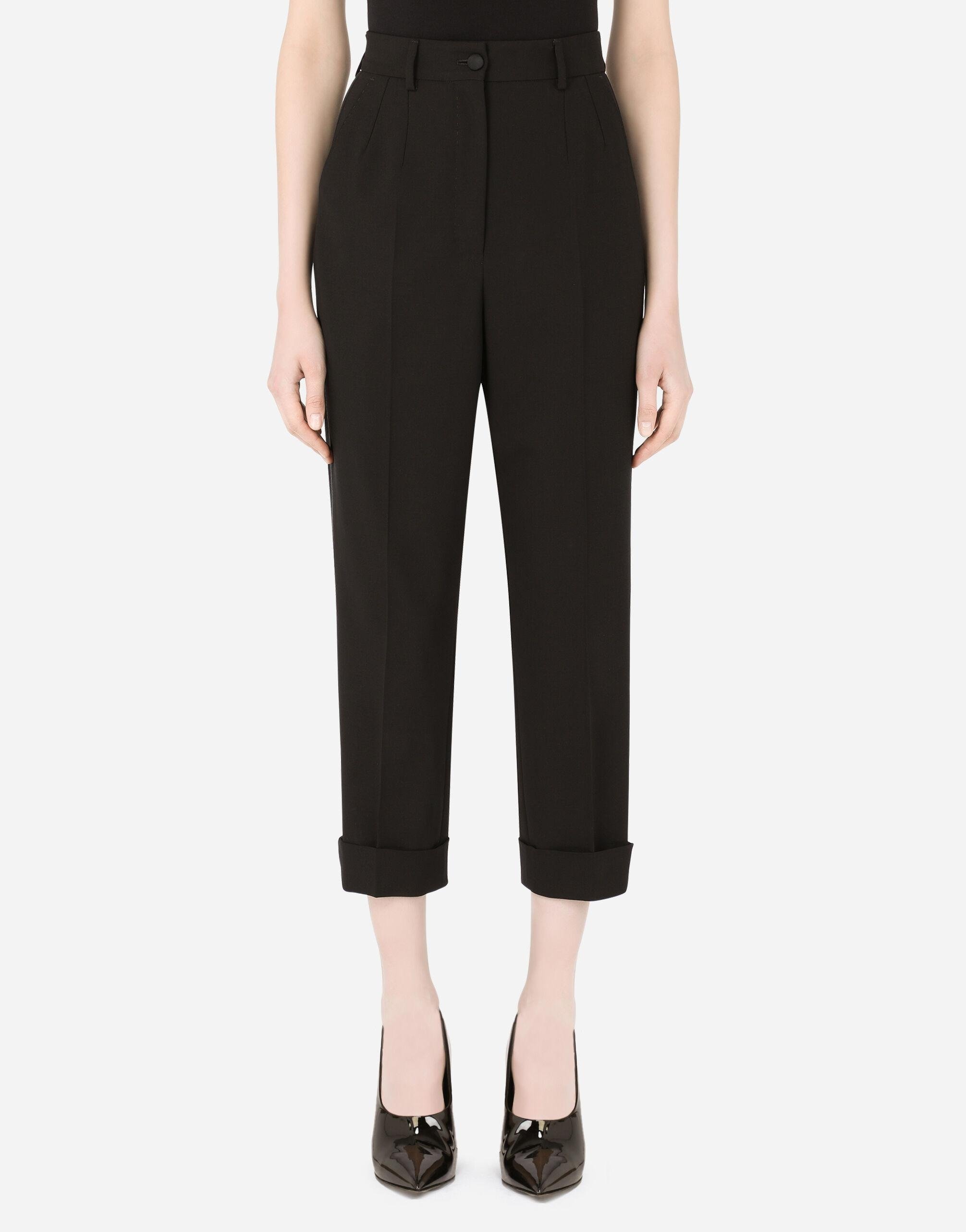 Woolen pants with turn-ups