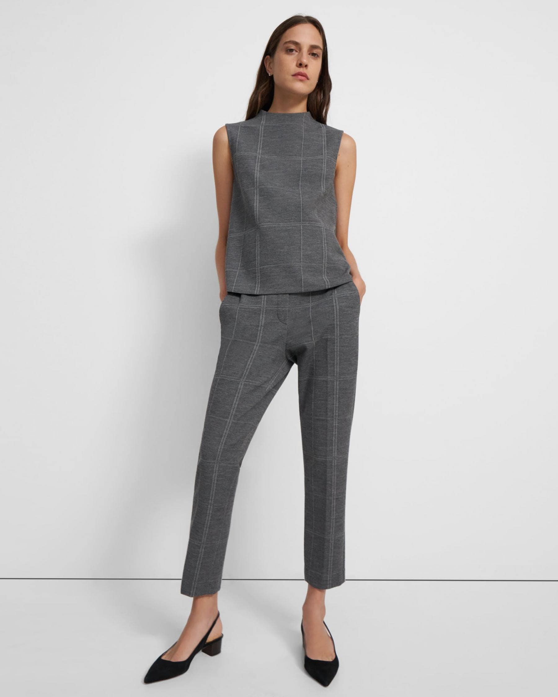 Sleeveless Volume Top in Checked Eco Knit