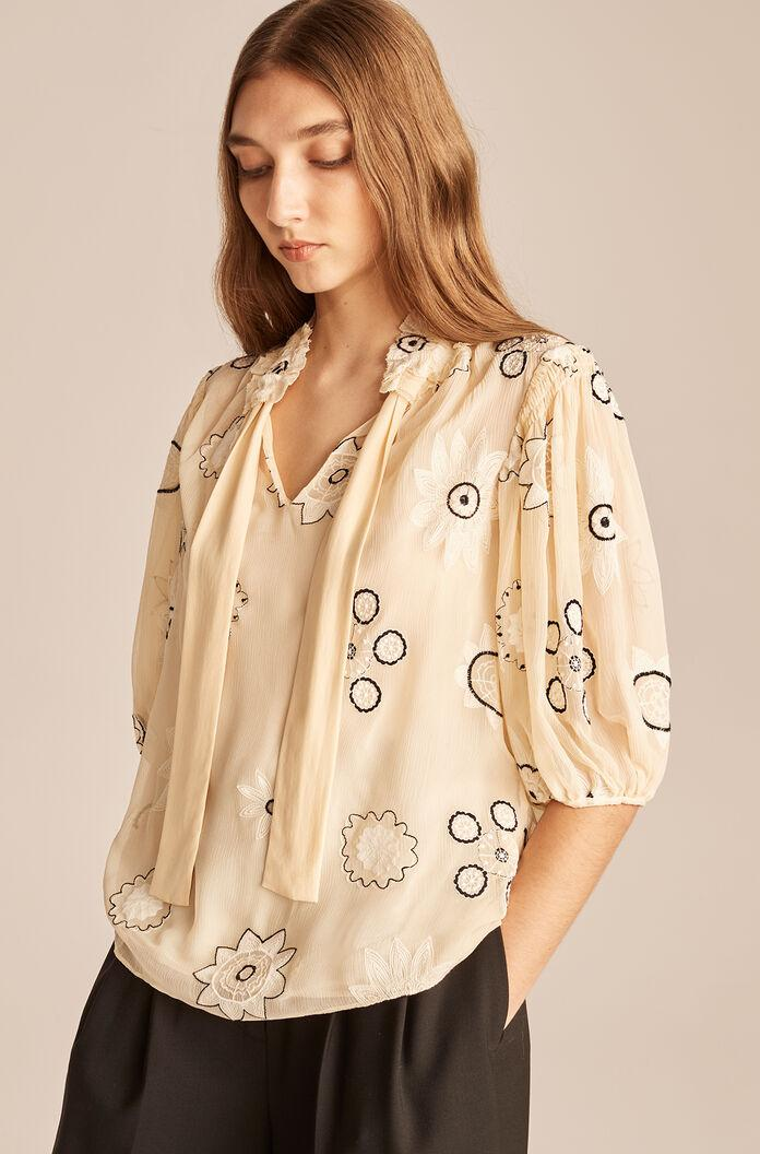 PARASOL EMBROIDERED BOW BLOUSE