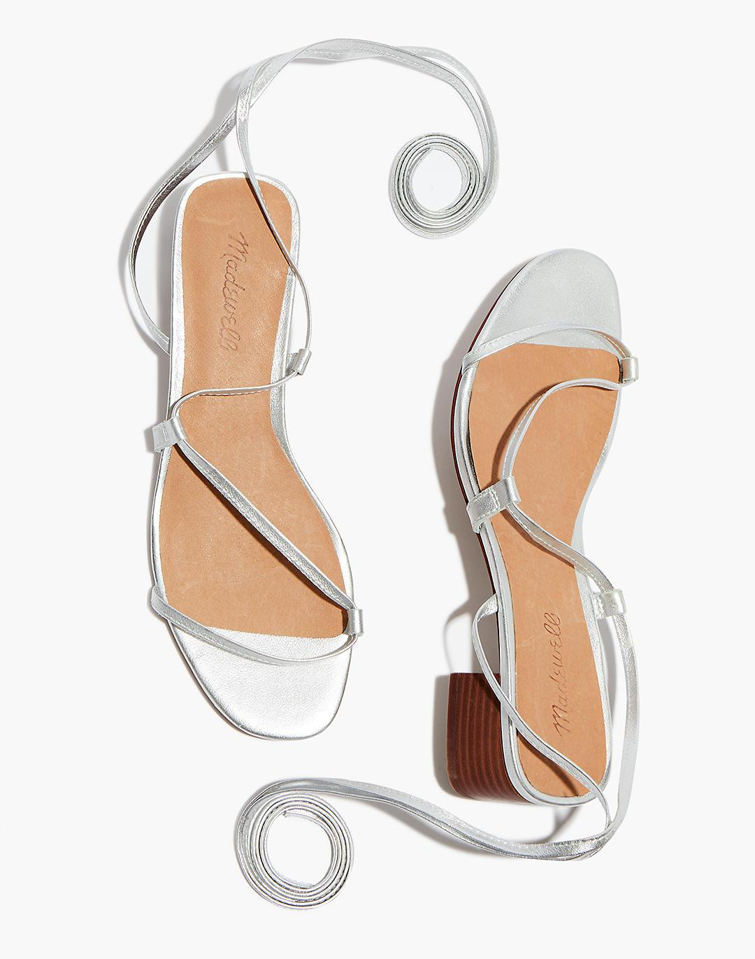 The Brigitte Lace-Up Sandal in Metallic Leather