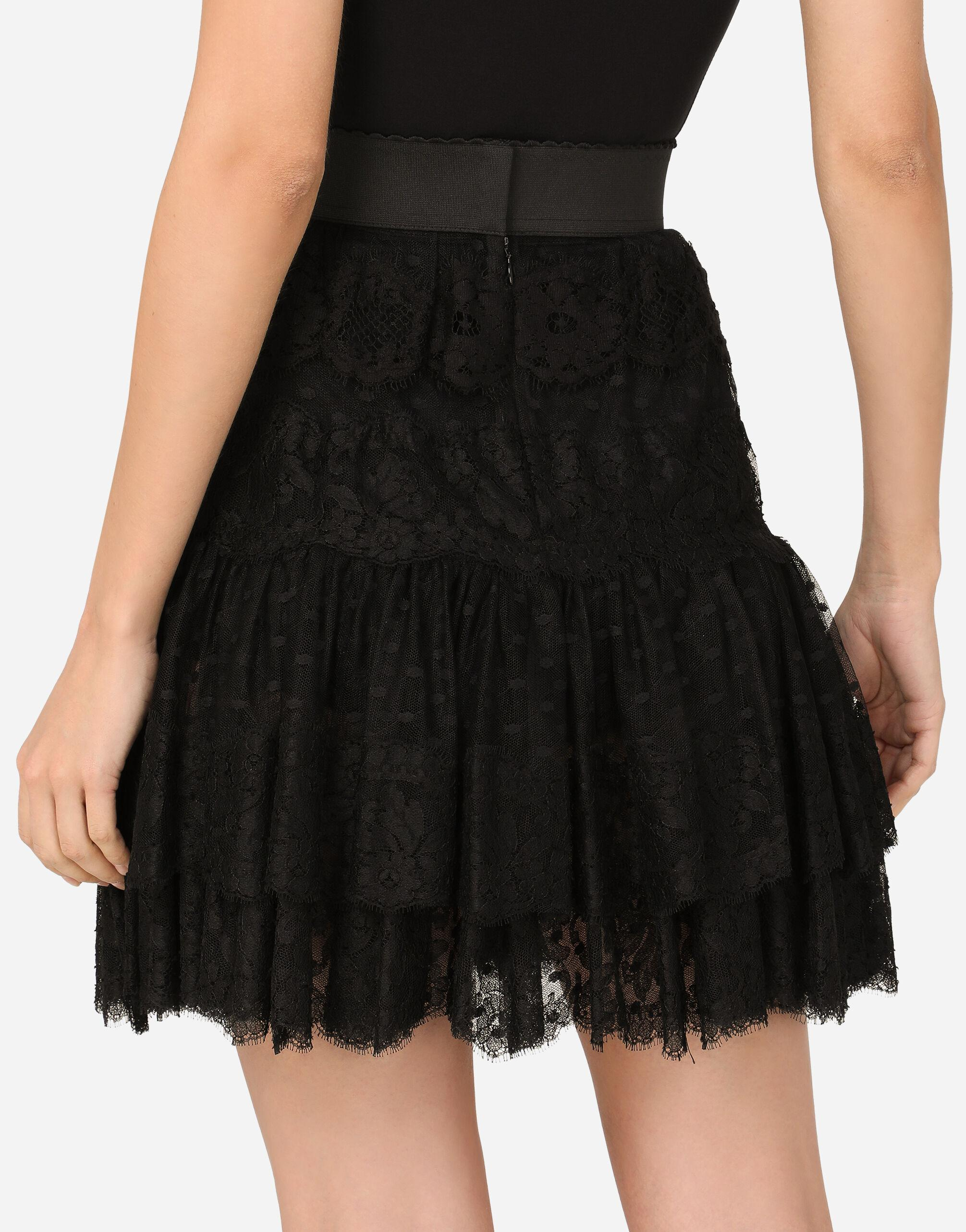 Ruffled tulle and lace midi skirt 3