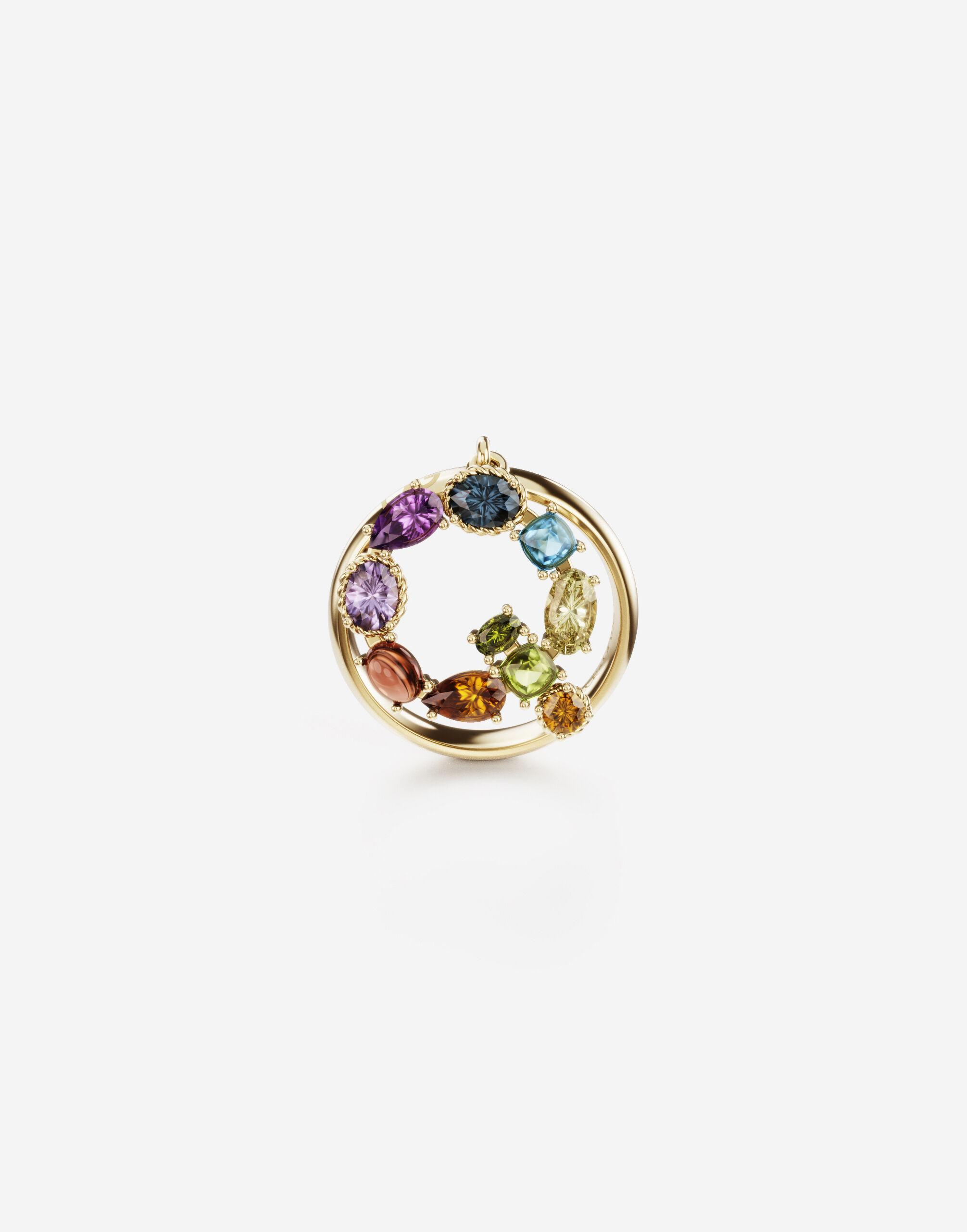 Rainbow alphabet Q ring in yellow gold with multicolor fine gems