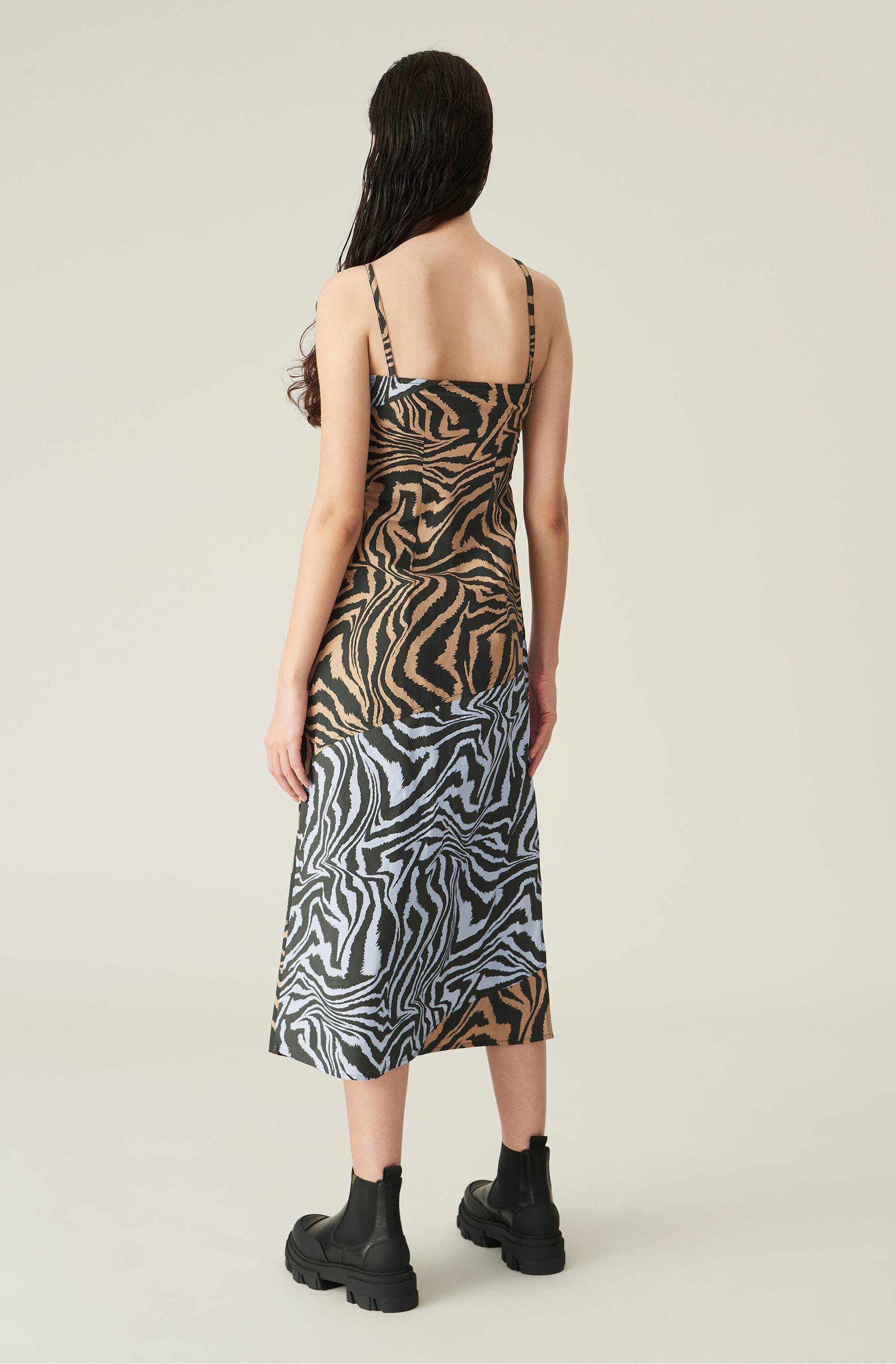Printed Cotton Slip Dress With Cutlines 1