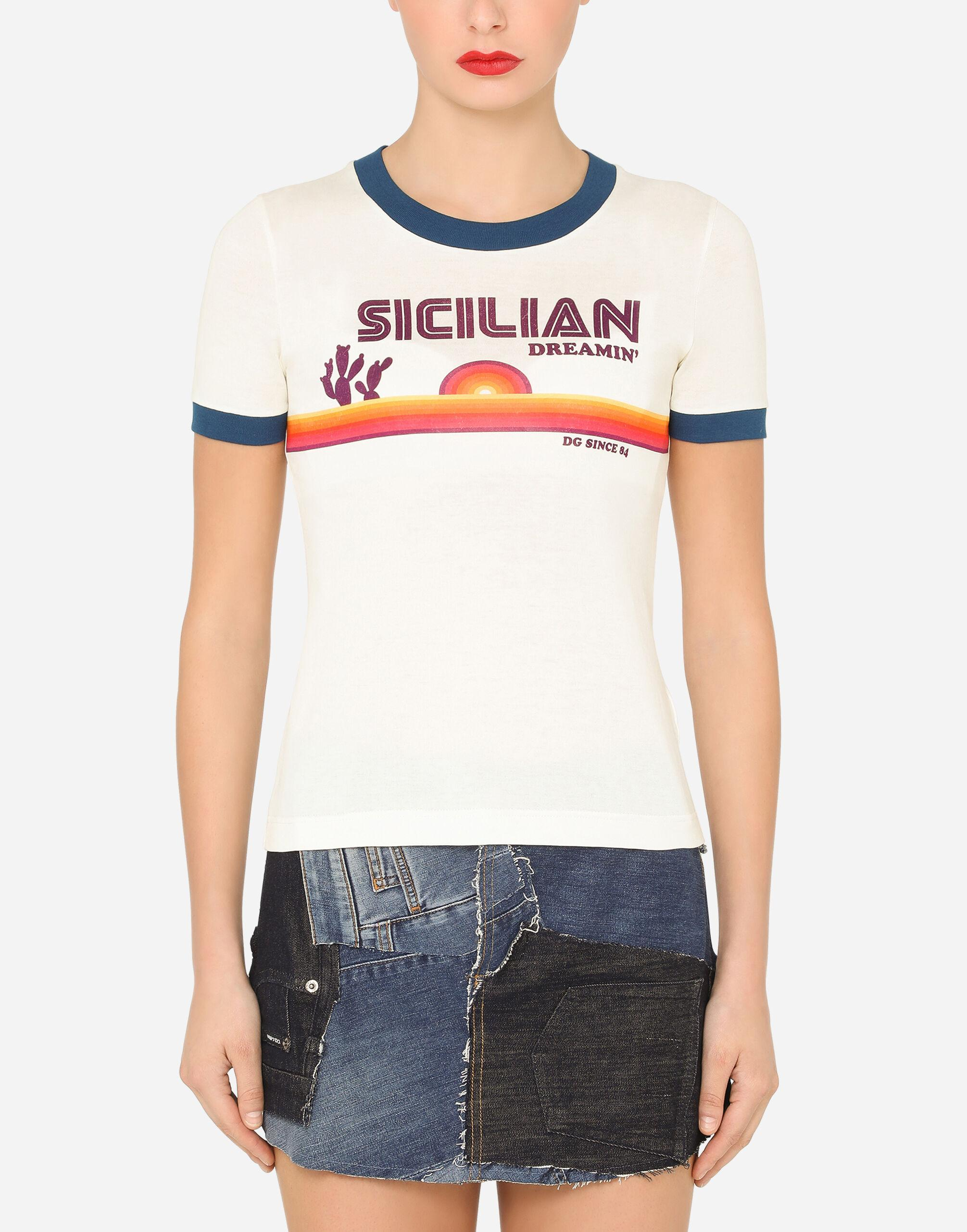 Short-sleeved jersey t-shirt with Sicilian print
