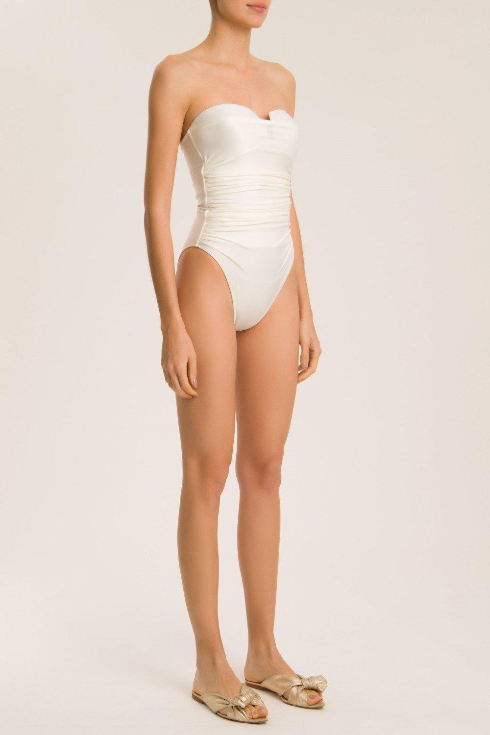 Solid High-Leg Strapless Frilled Swimsuit