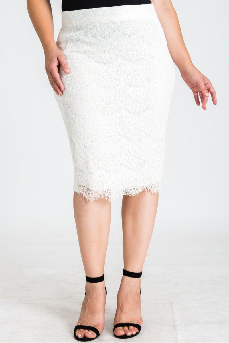 Plus Size Tori Ivory Pencil Skirt in Ponte and Lace