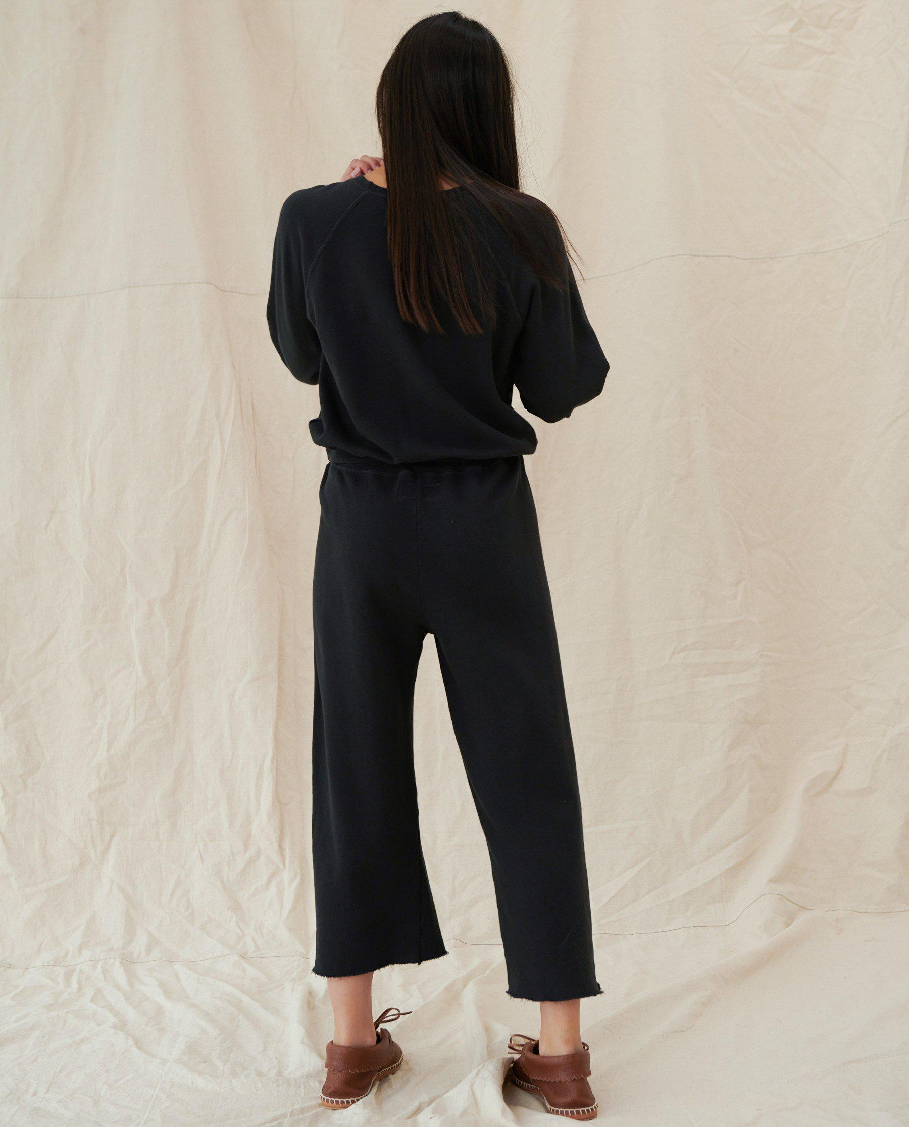 The Wide Leg Cropped Sweatpant. -- Almost Black 3