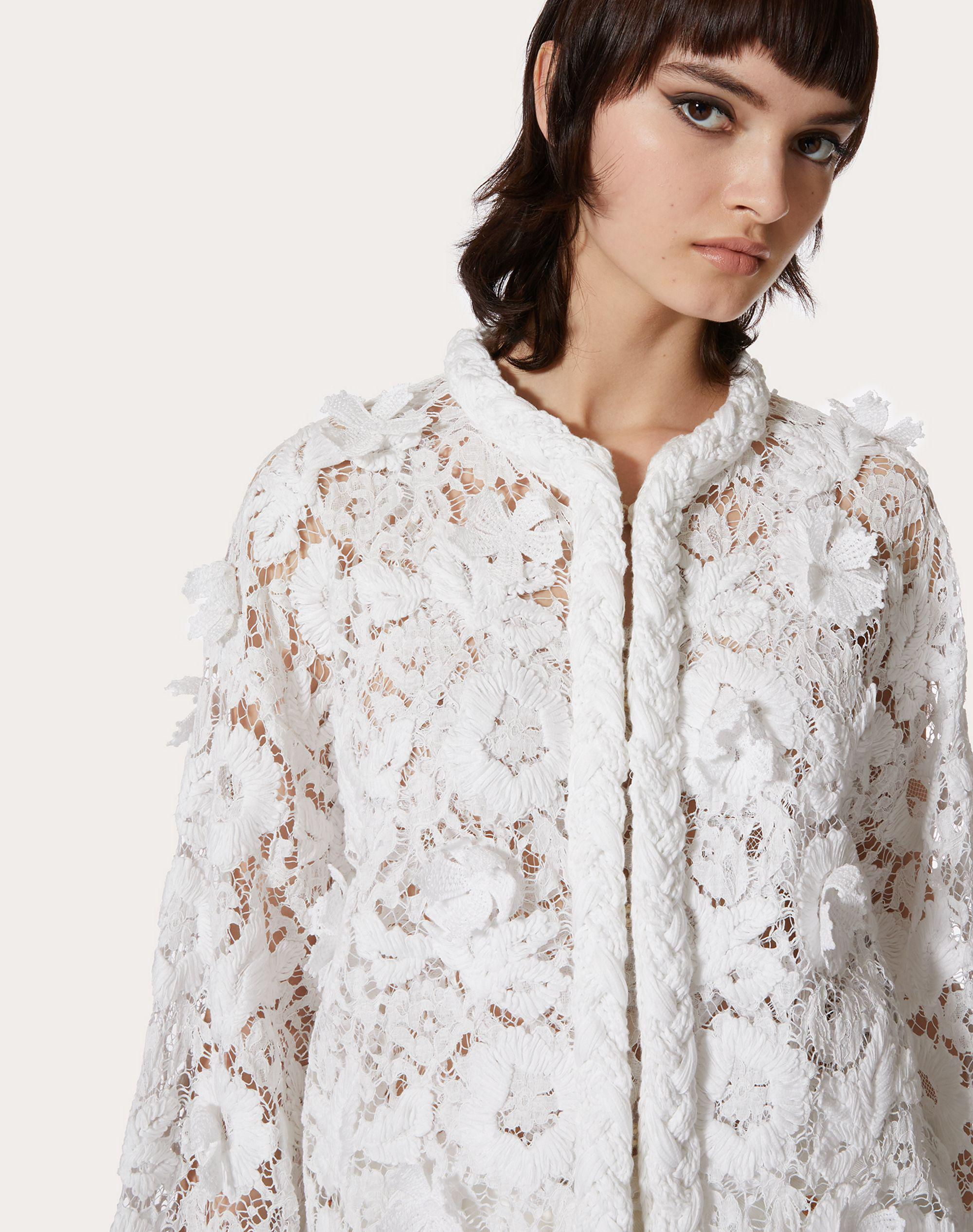 CARDIGAN IN COTTON AND EMBROIDERED LACE 3
