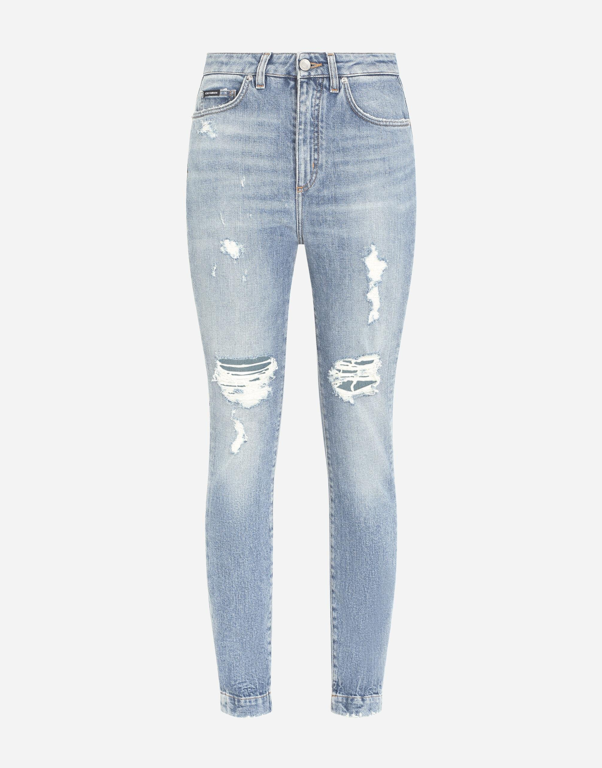 Stretch denim Audrey jeans with rips 2