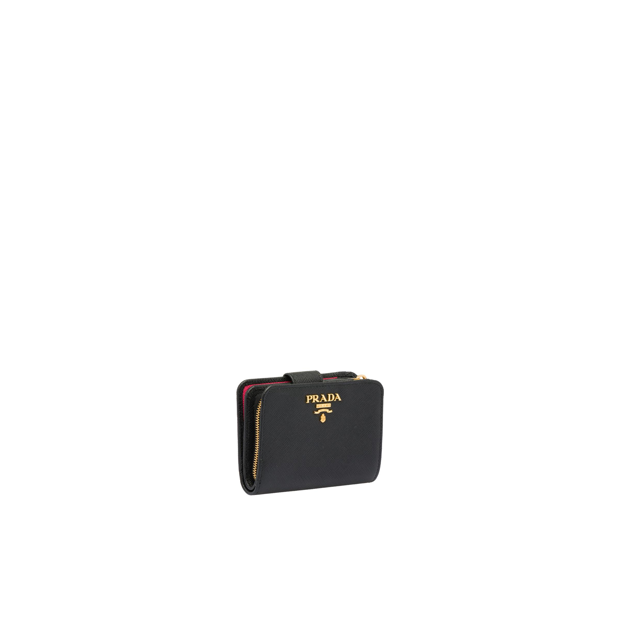 Small Saffiano Leather Wallet Women Black/hibiscus 3