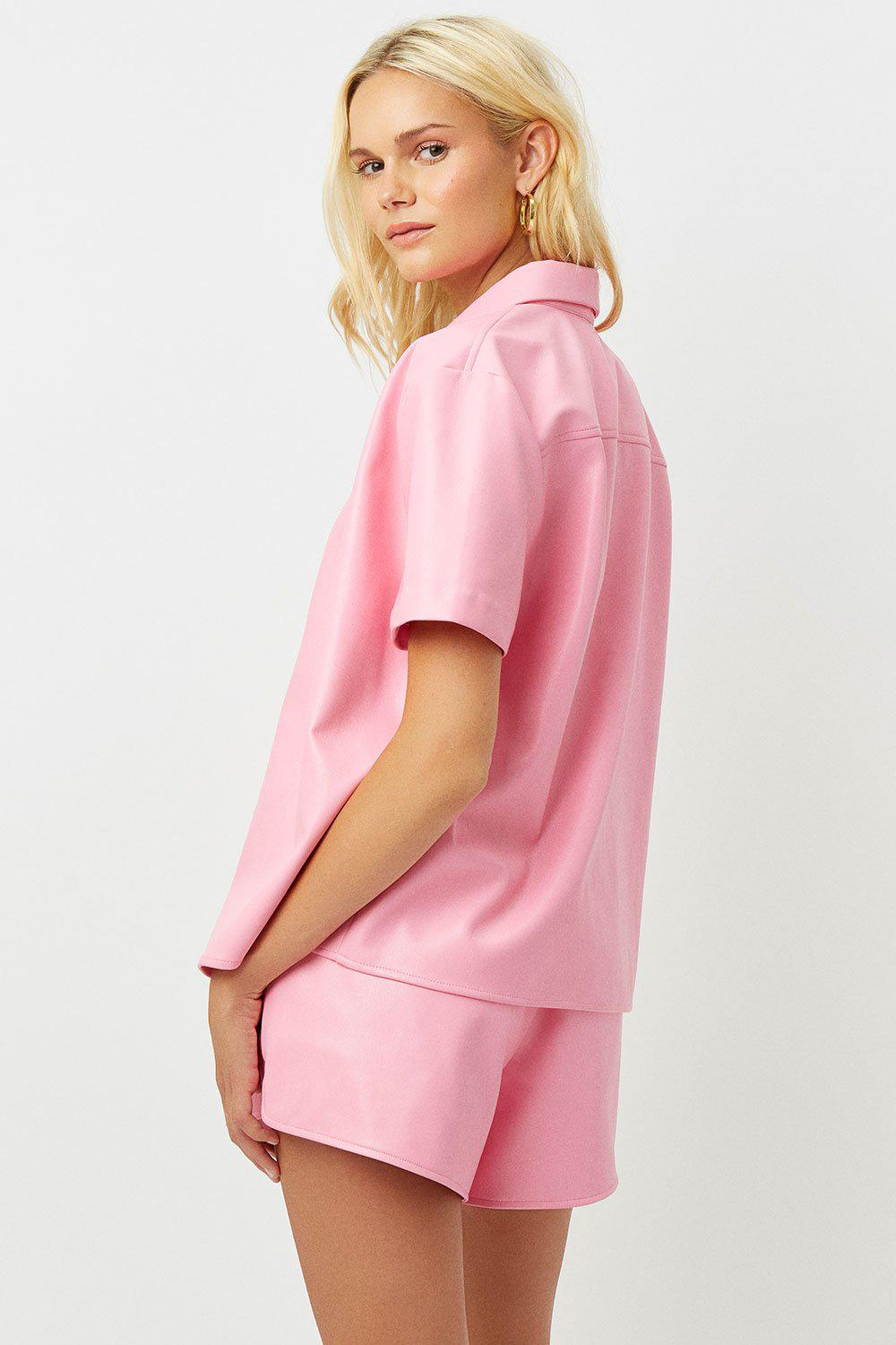 Rusty Vegan Leather Button Up Shirt - Pink Punch 3
