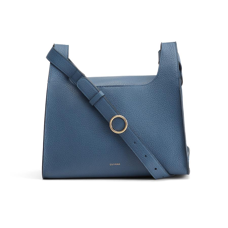 Women's Double Loop Bag in Indigo | Pebbled Leather by Cuyana