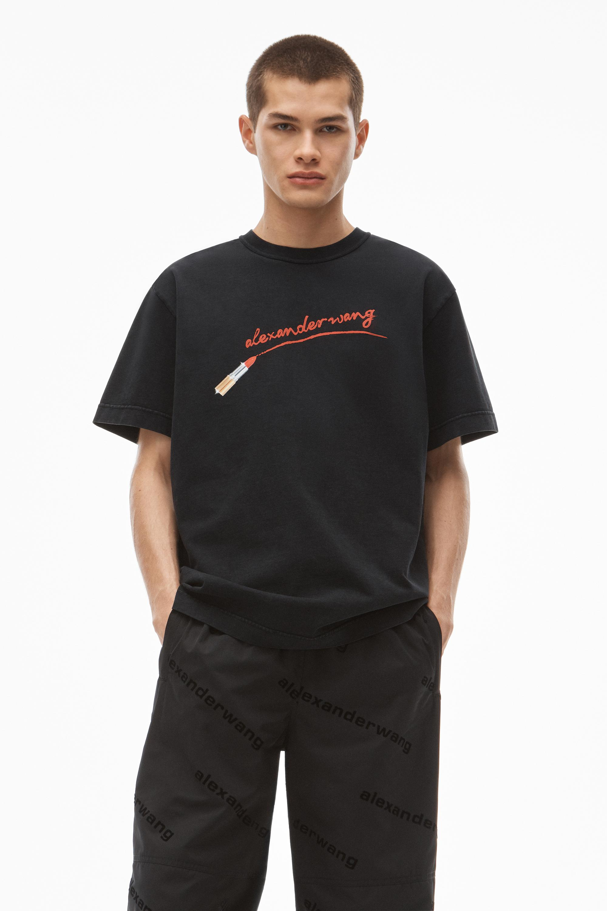 short-sleeve lipstick graphic tee in compact jersey 2