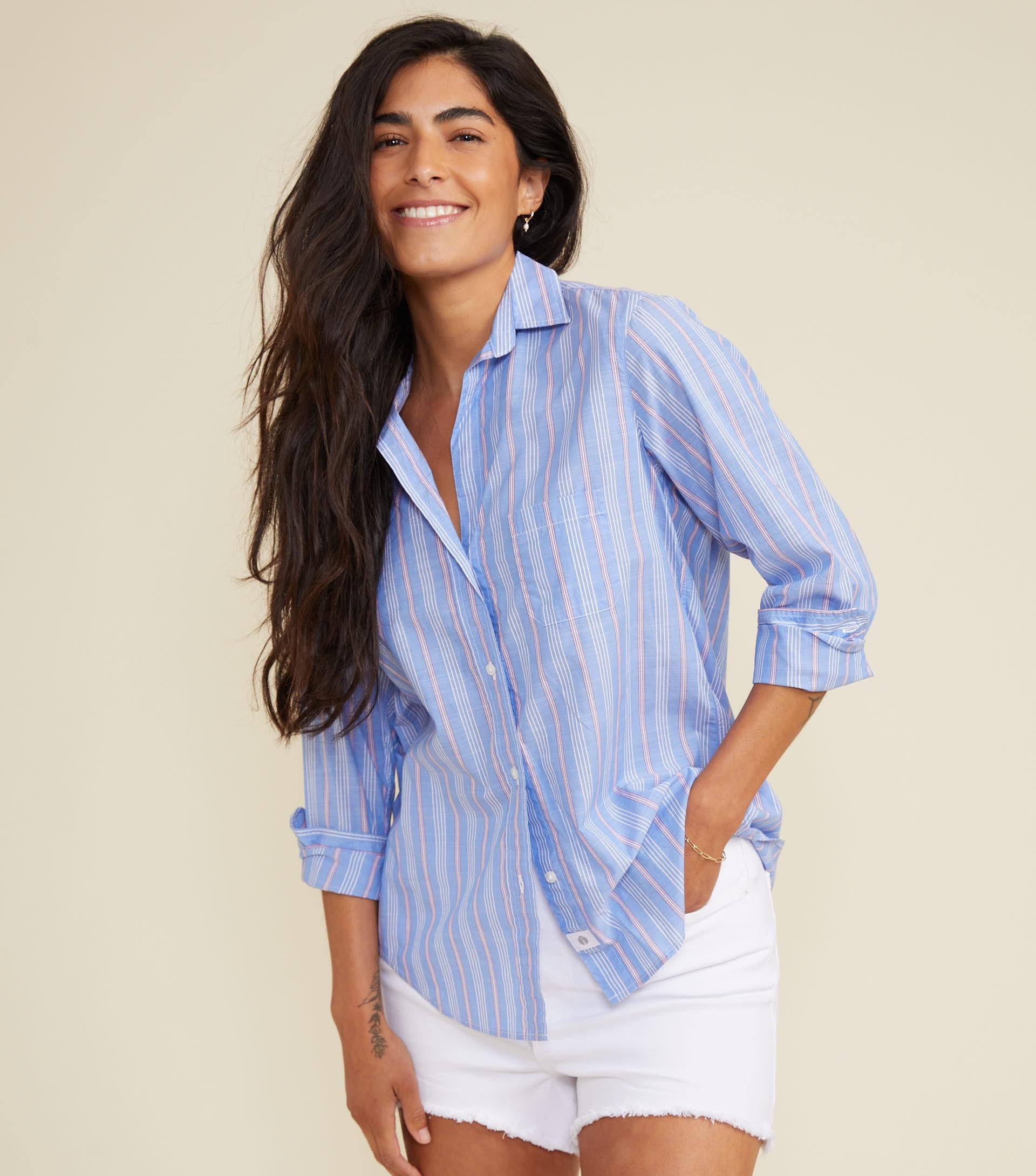 The Hero Blue with Pink Stripe, Washed Cotton Sale