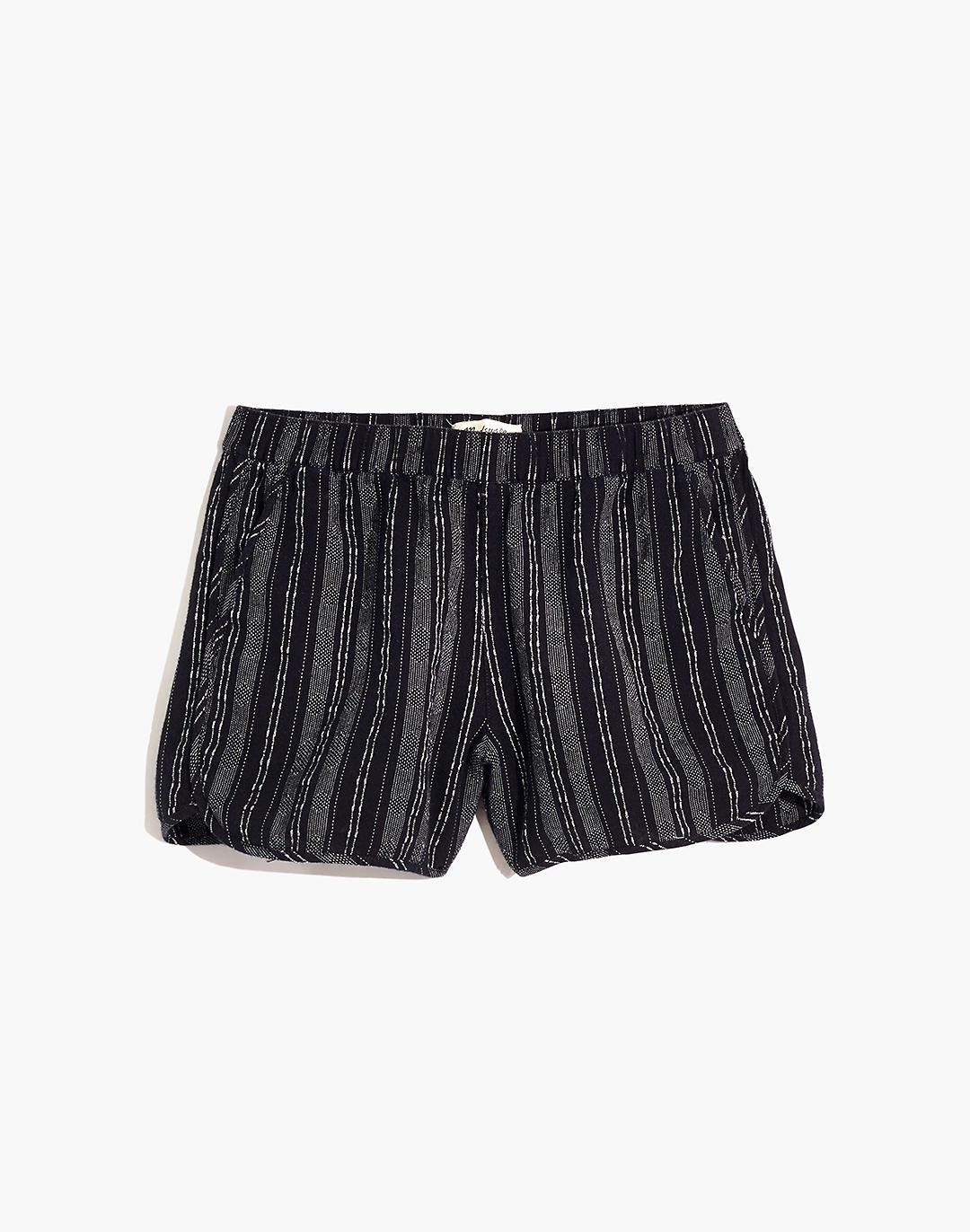 Linen-Cotton Pull-On Shorts in Jacquard Stripe 3