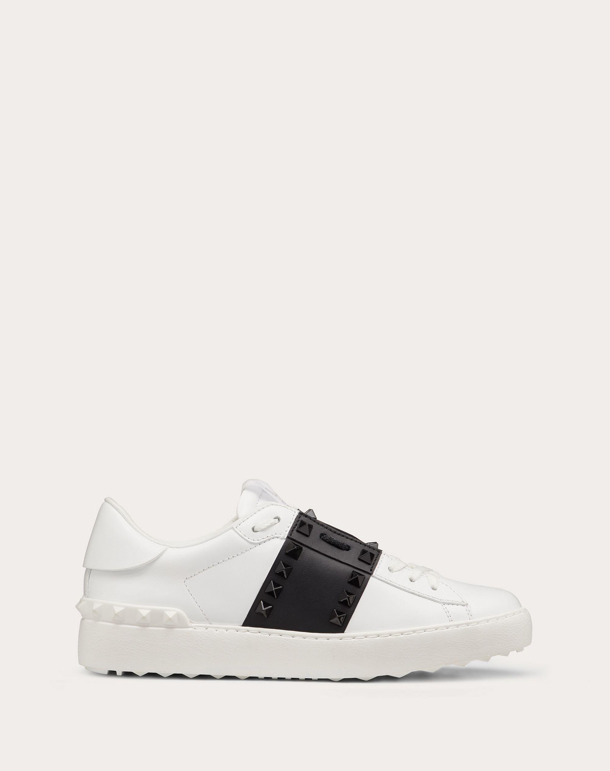 Rockstud Untitled Sneaker in Calfskin Leather with Tonal Studs