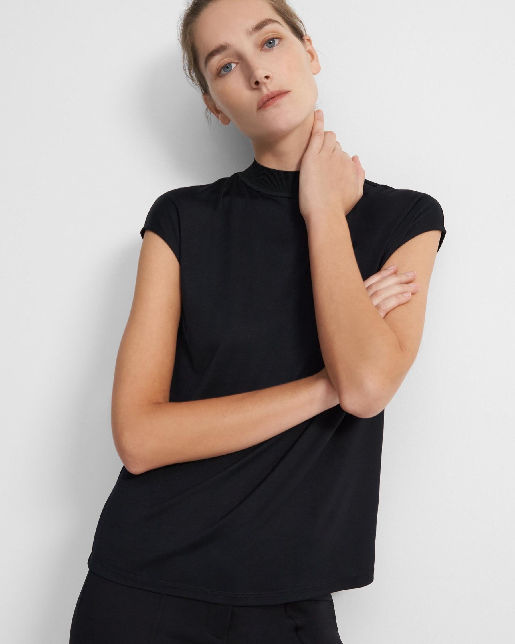 Ribbed Neck Top in Silk Jersey