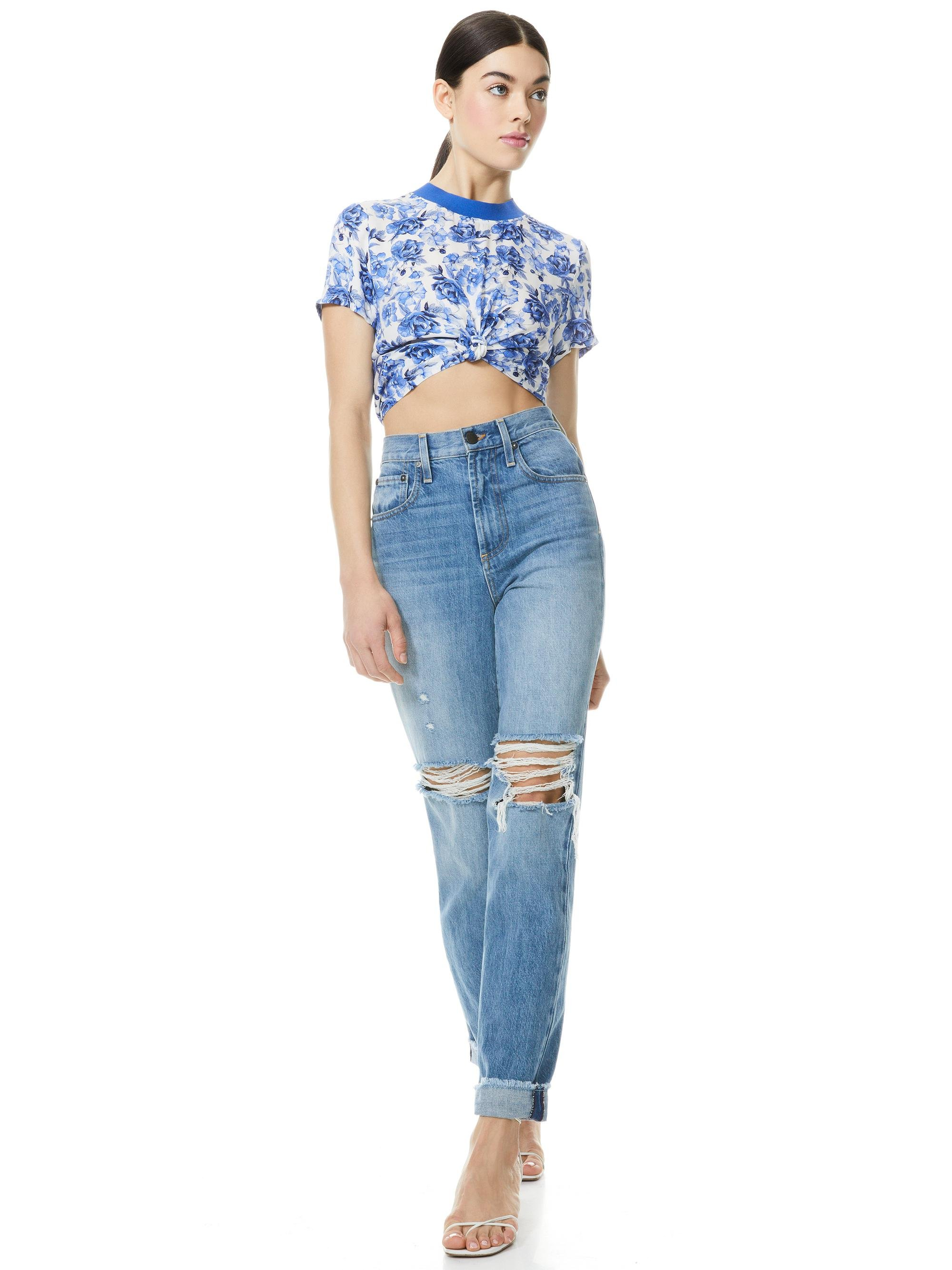 KANE FLORAL TIE FRONT TEE 3