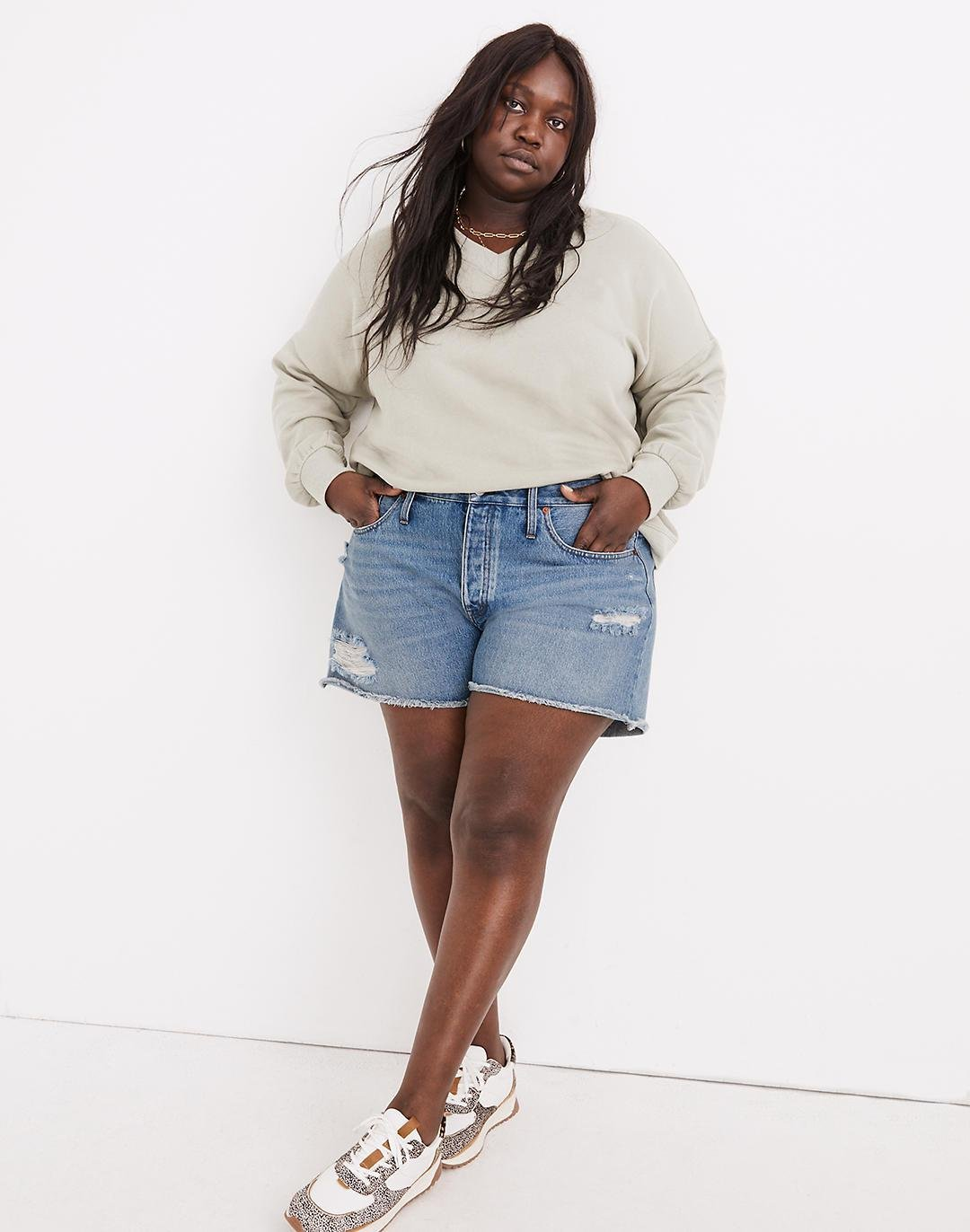 Plus Relaxed Denim Shorts in Homecrest Wash: Ripped Edition
