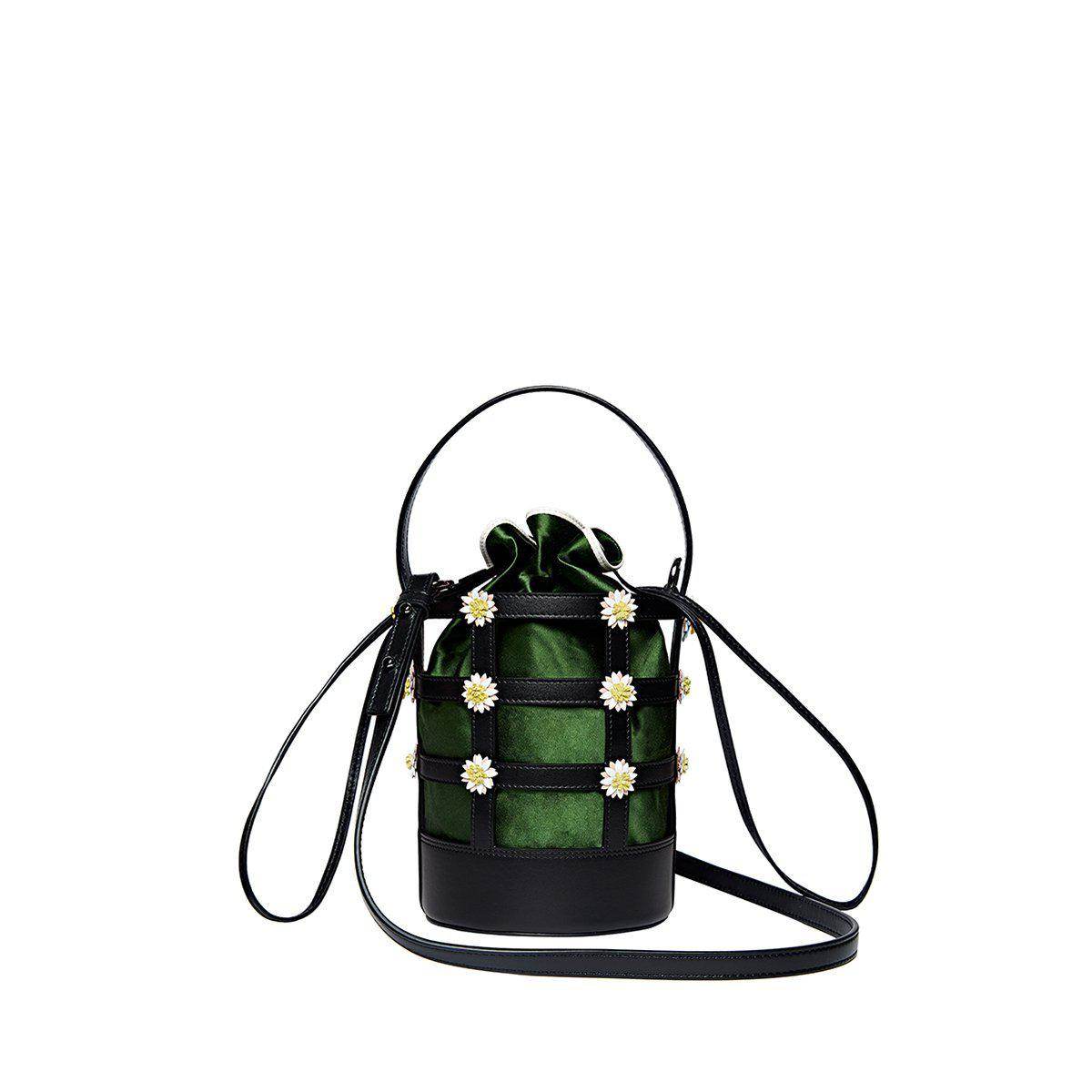 Miss Daisy Bucket Bag with Satin Pouch - Green