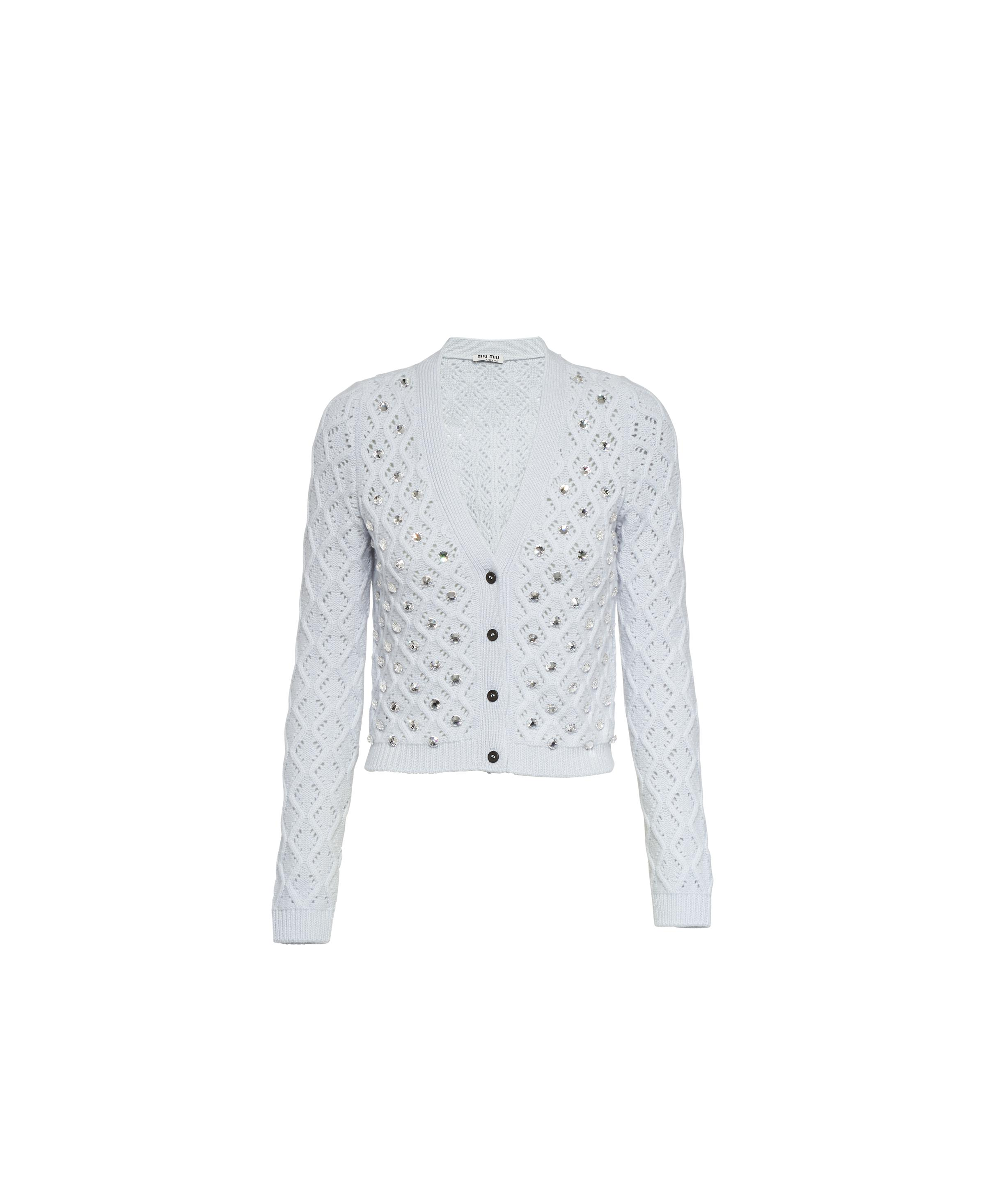 Embroidered Cashmere Cardigan Women Cloudy Gray