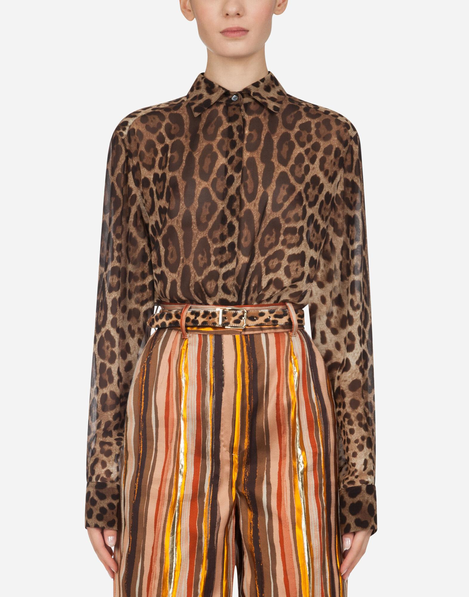 Georgette shirt with leopard print