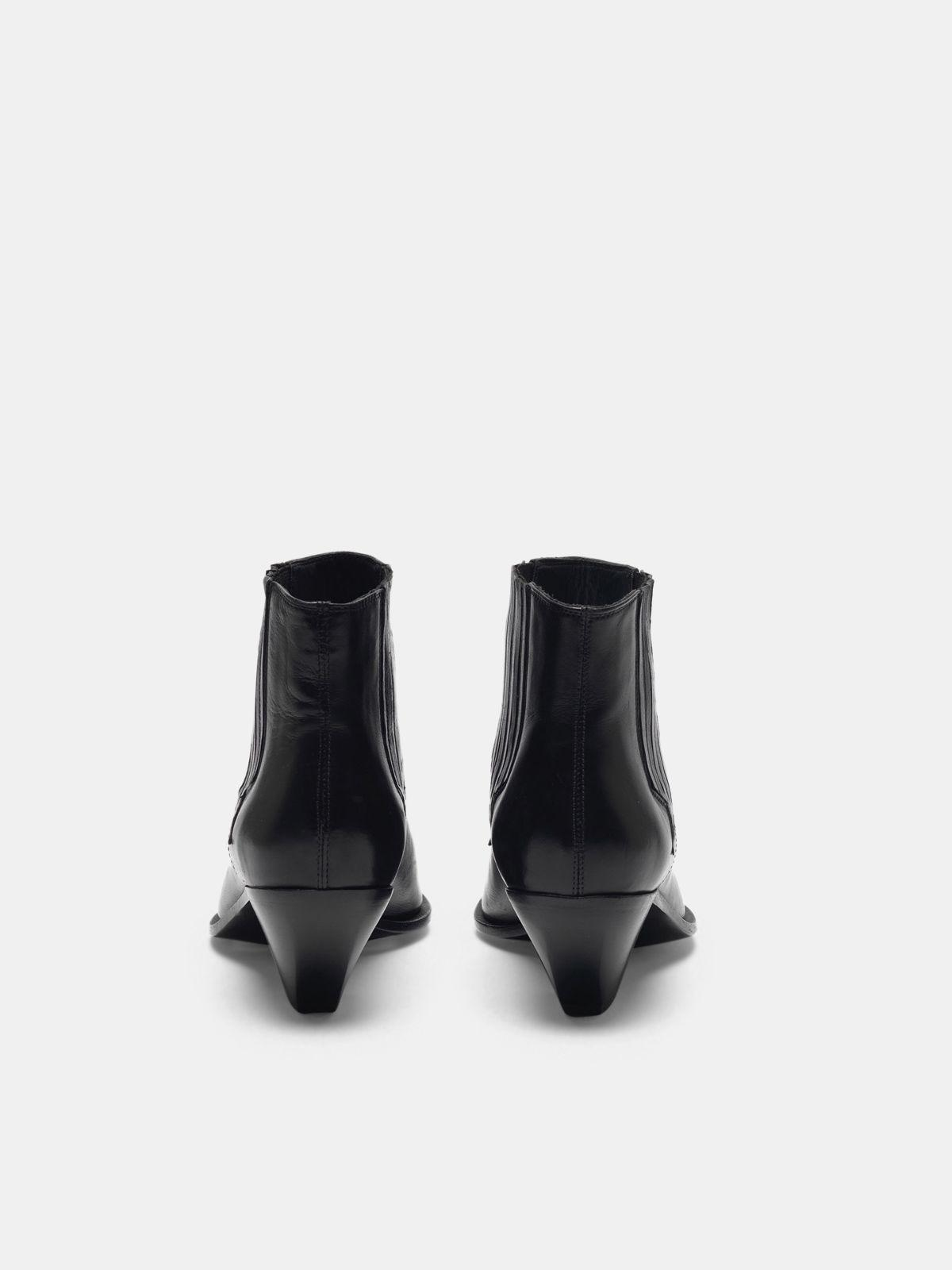 Black Sunset Flowers ankle boots with cowboy-style decoration 1