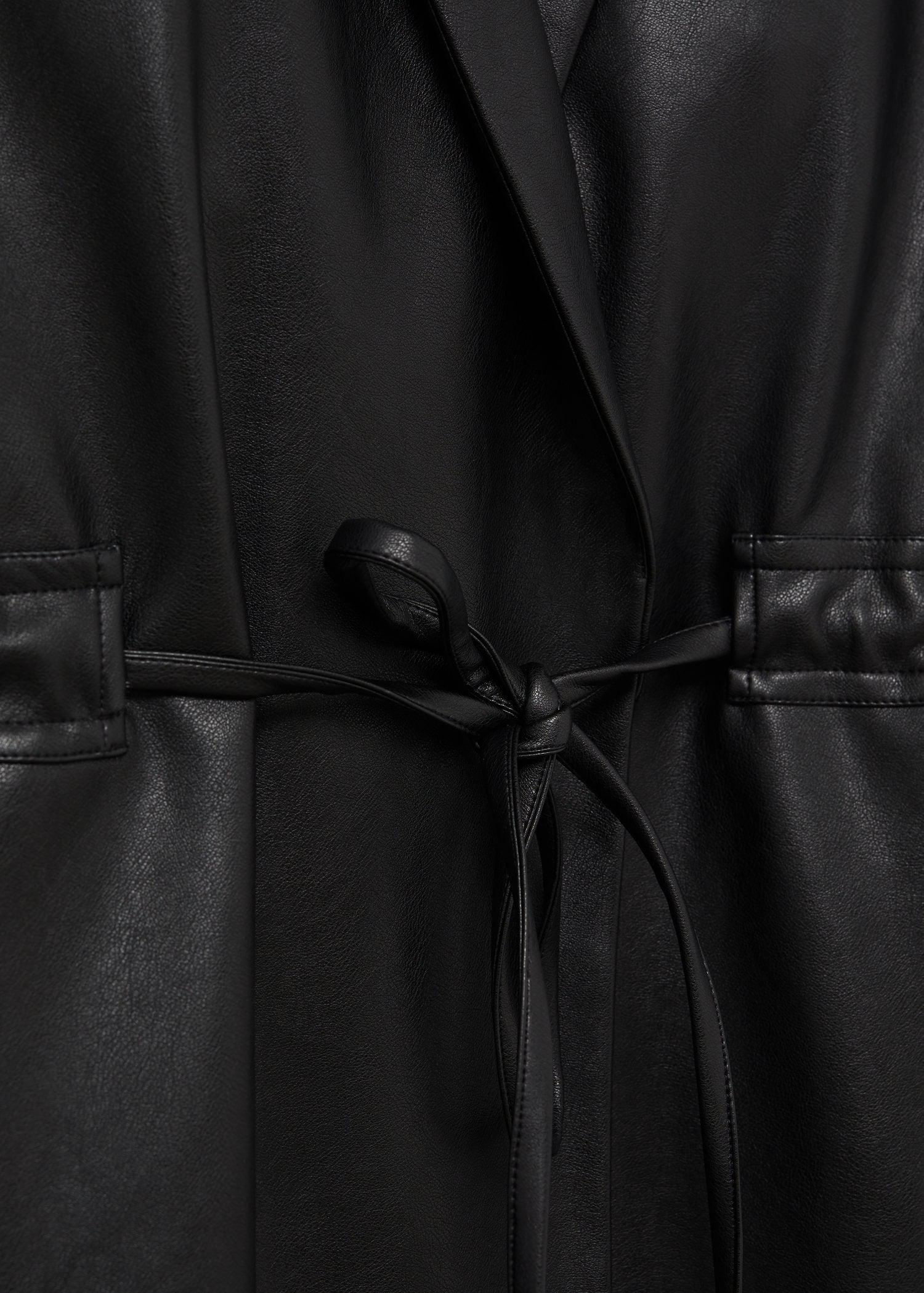 Leather-effect coat with belt 9