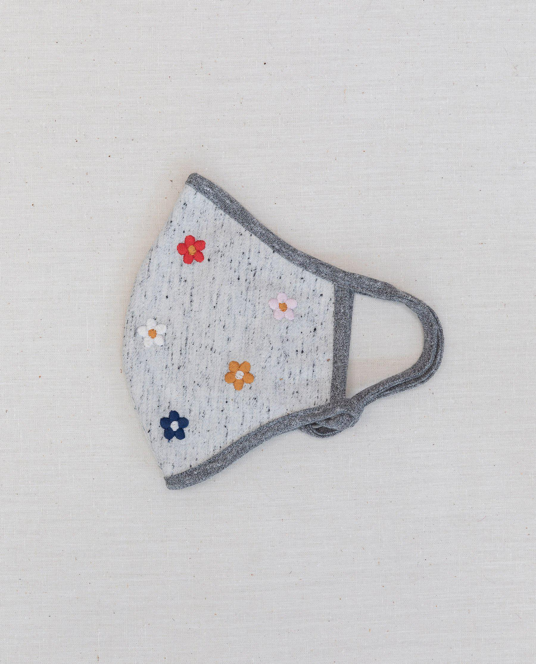 The Embroidered Face Mask. -- Natural Nep with Multi Flower Embroidery