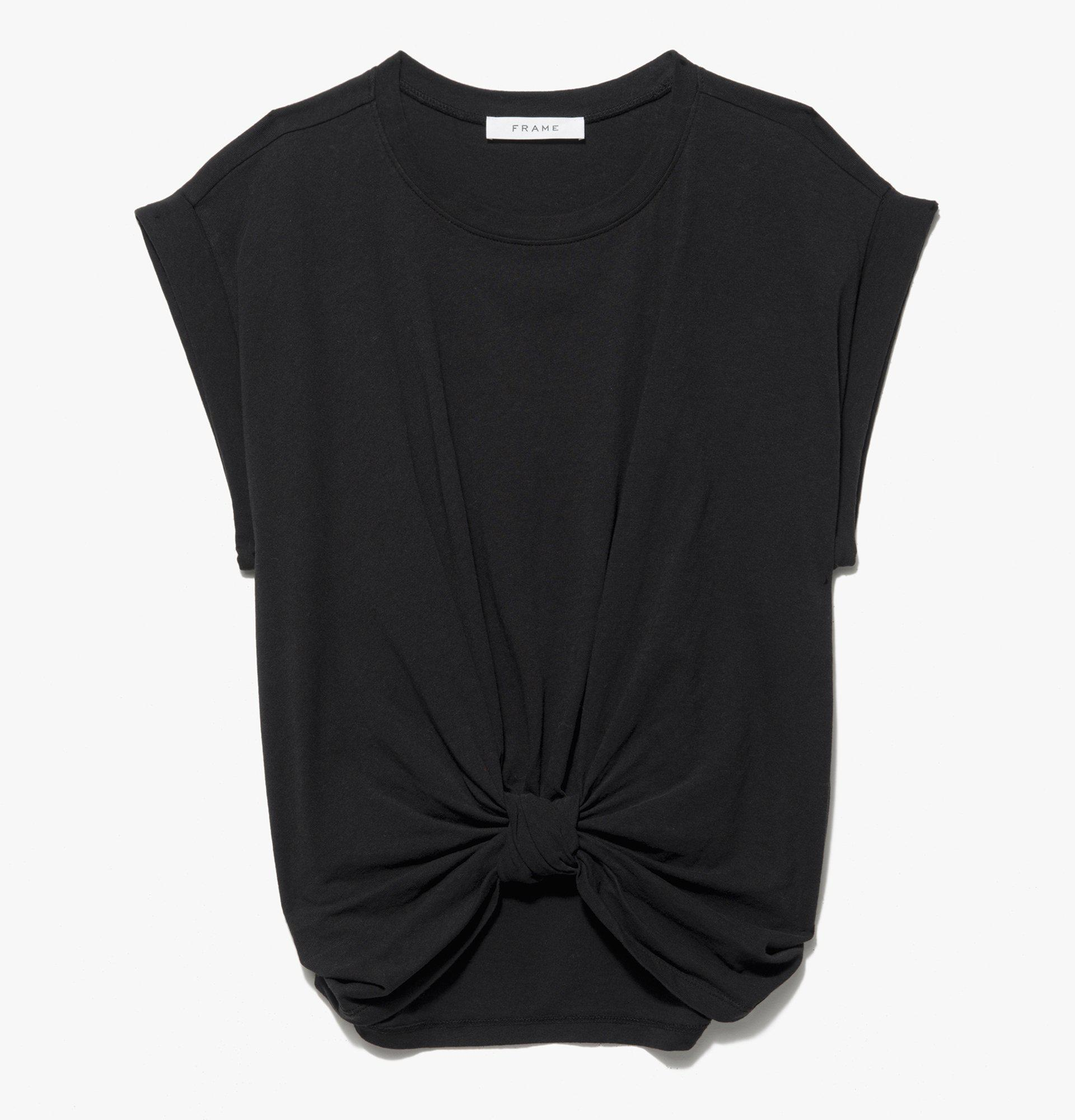 Knotted Rolled Tee -- Noir
