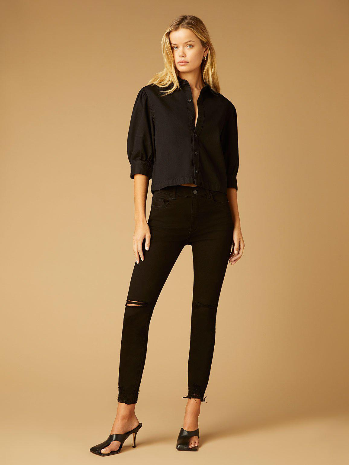 Farrow Skinny High Rise Instasculpt Ankle   Black Tide Distressed