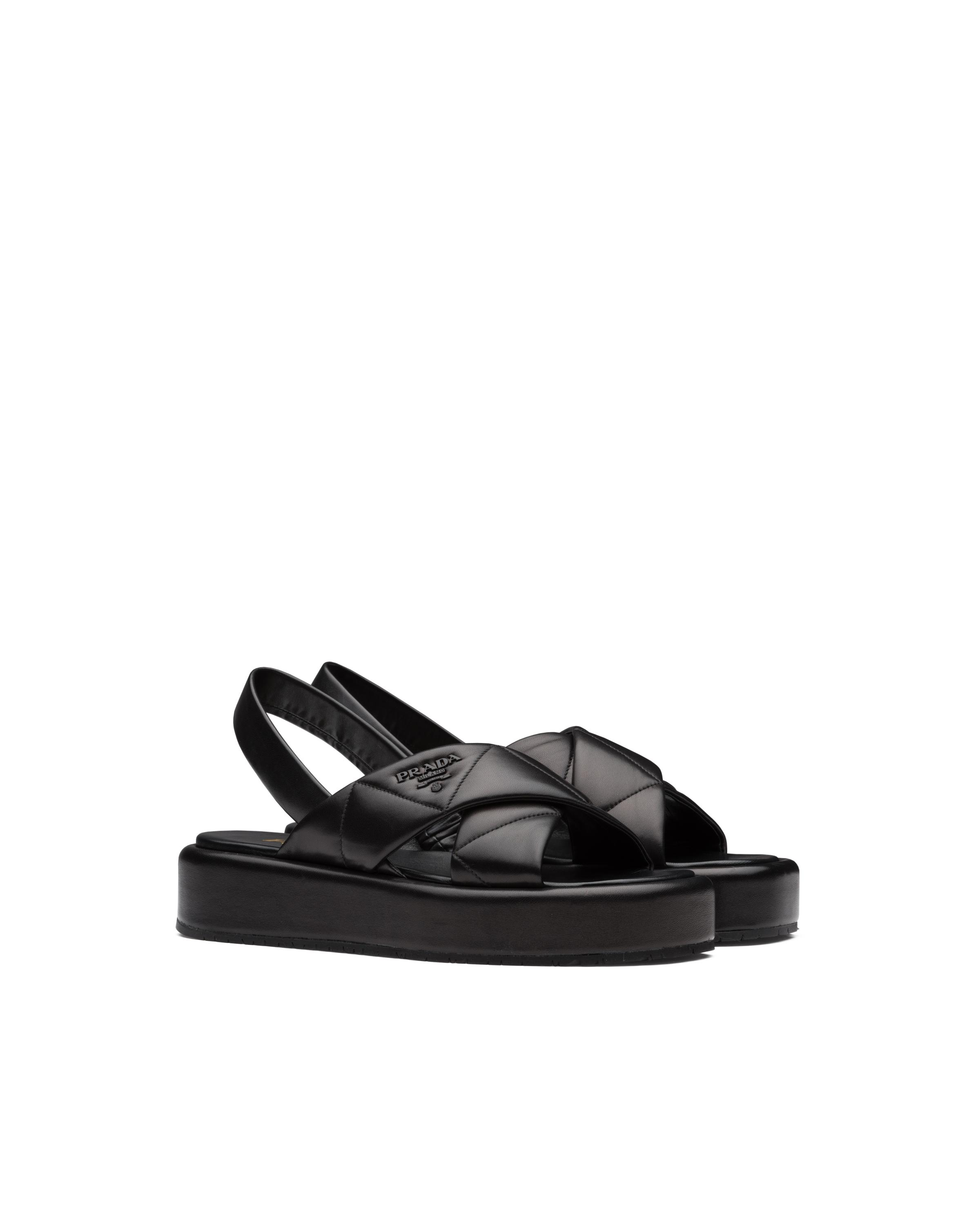 Quilted Nappa Leather Flatform Sandals Women Black 5