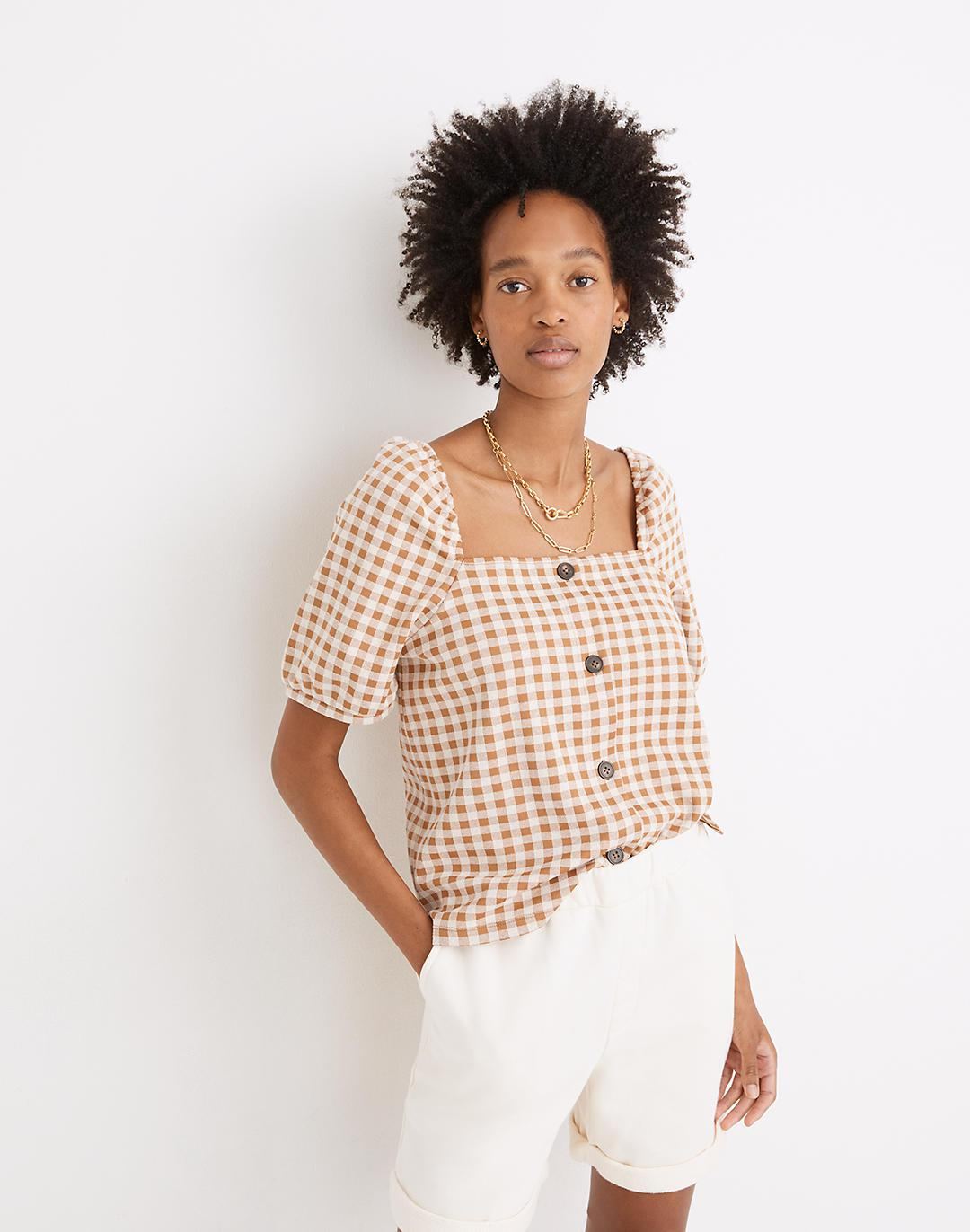 Gingham Jacquard Square-Neck Puff-Sleeve Top