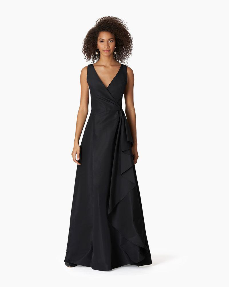 V-neck Gown With Cascade Draped Skirt