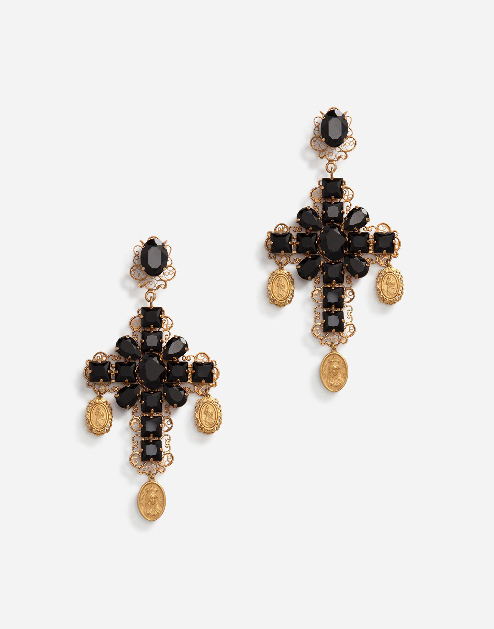 Clip-on drop earrings with crosses and medallions