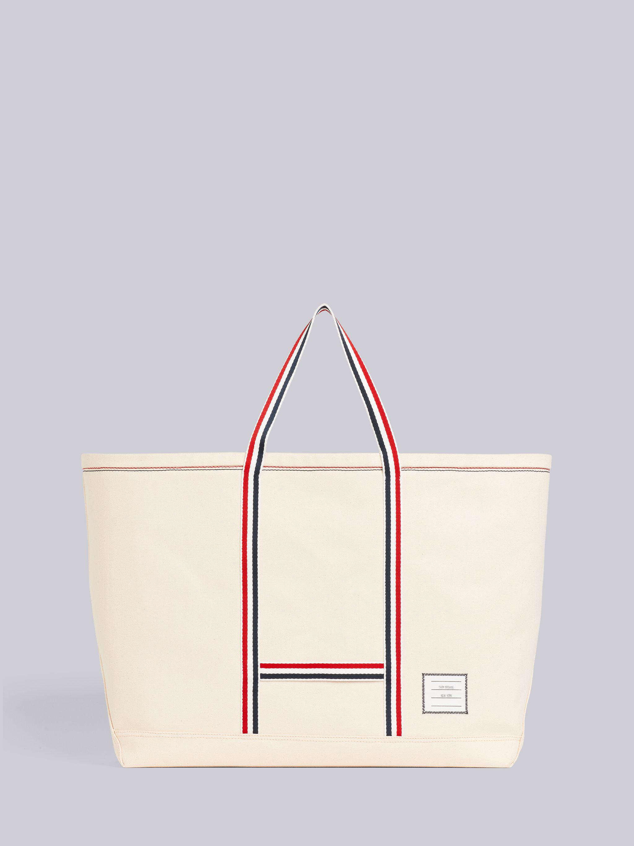 Off White Double Face Cotton Canvas Oversized Tool Tote Bag