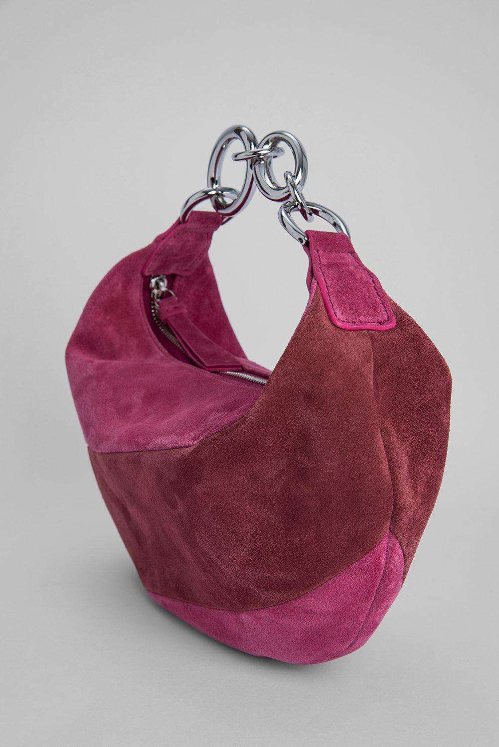Bougie Fuchsia and Dark Brown Suede Leather 4