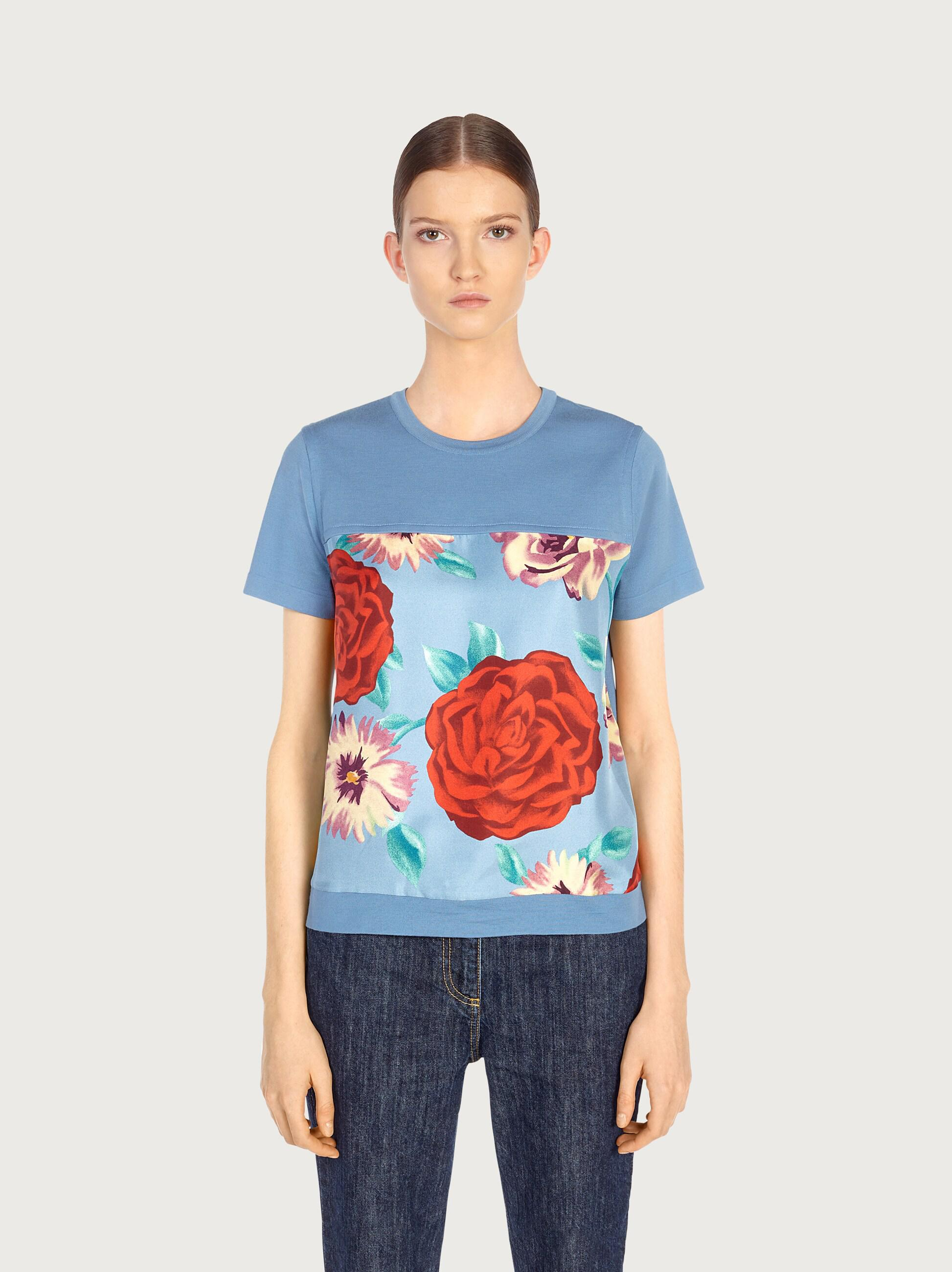 SHORT SLEEVED TOP WITH SILK INLAYS