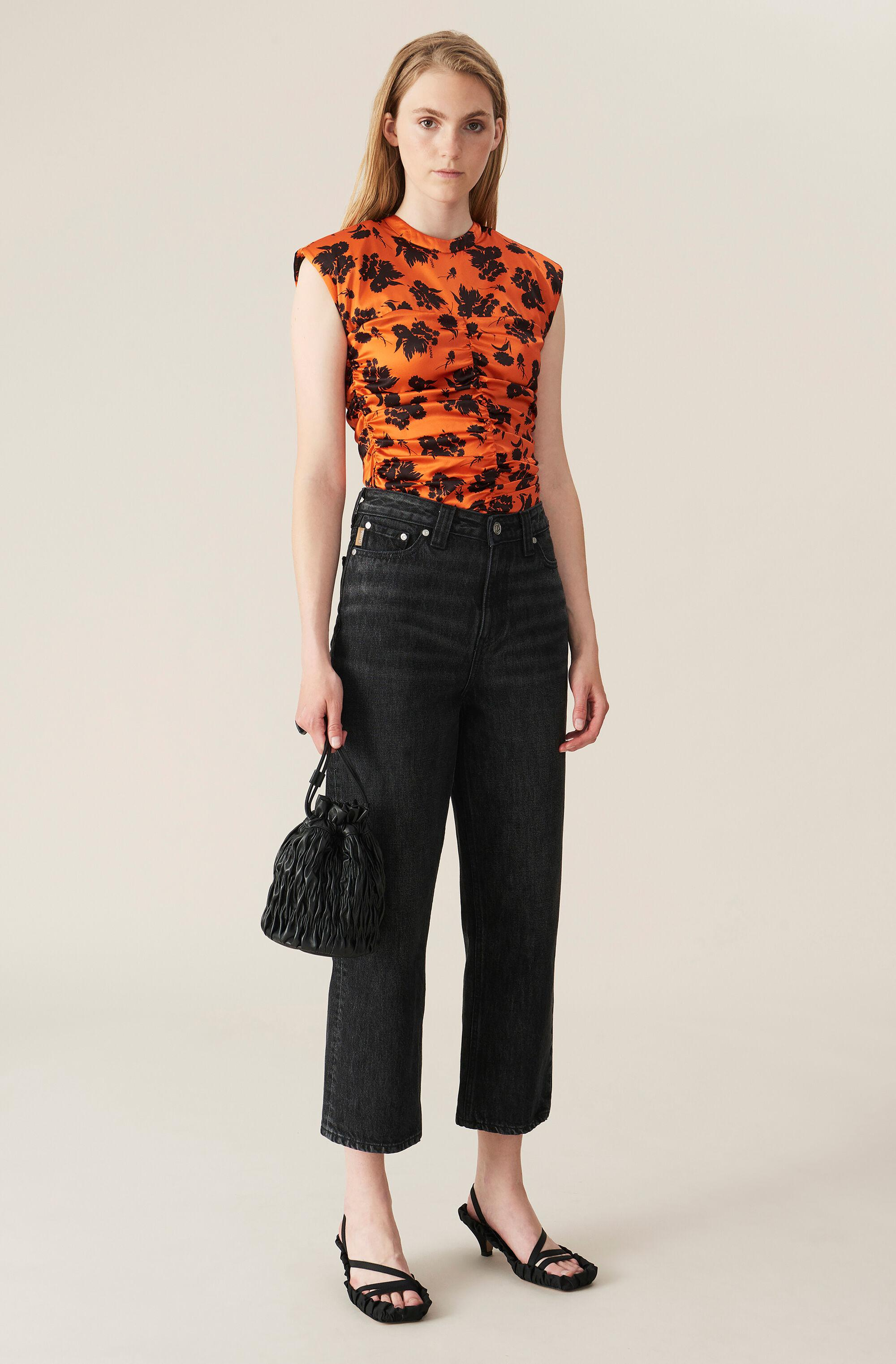 Washed Denim High-waisted Cropped Jeans