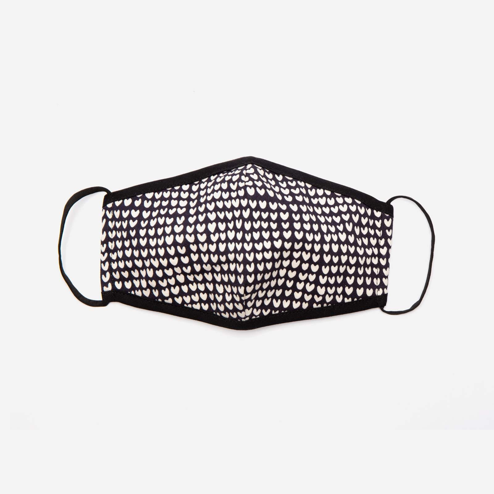 Fitted Mask Heart Print Black Oyster