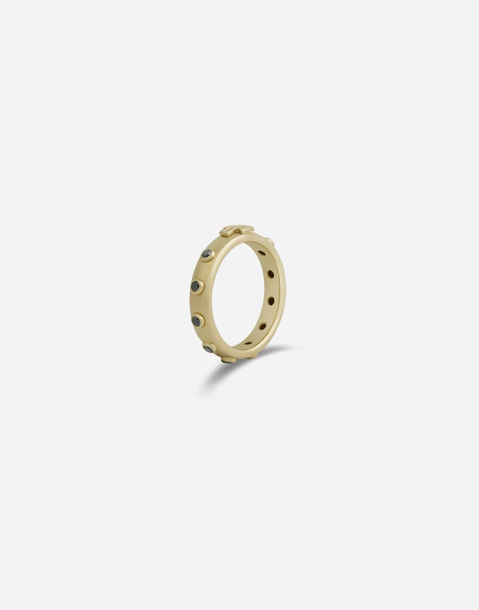 Devotion band in yellow gold with black diamonds 1