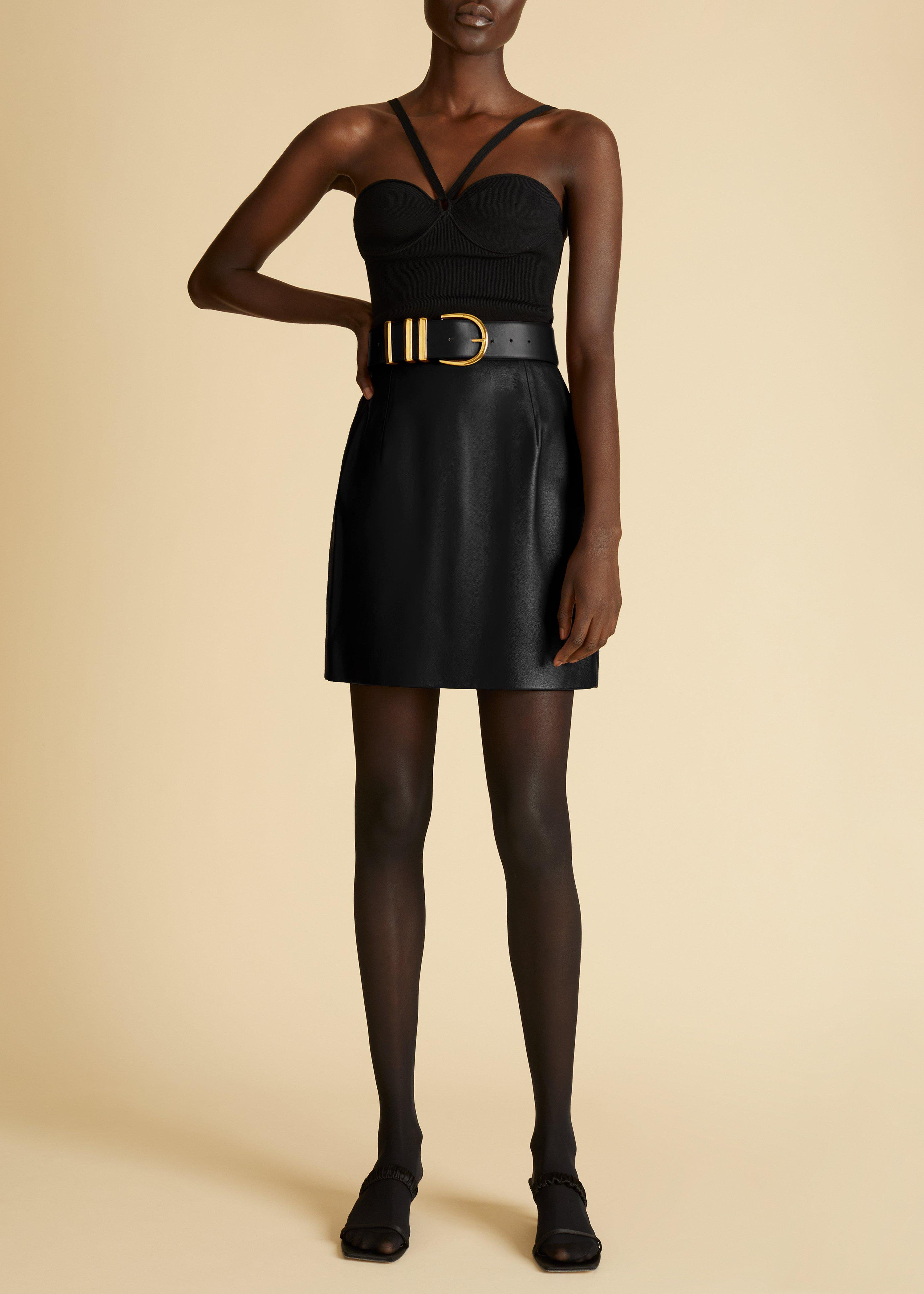 The Eiko Skirt in Black Leather