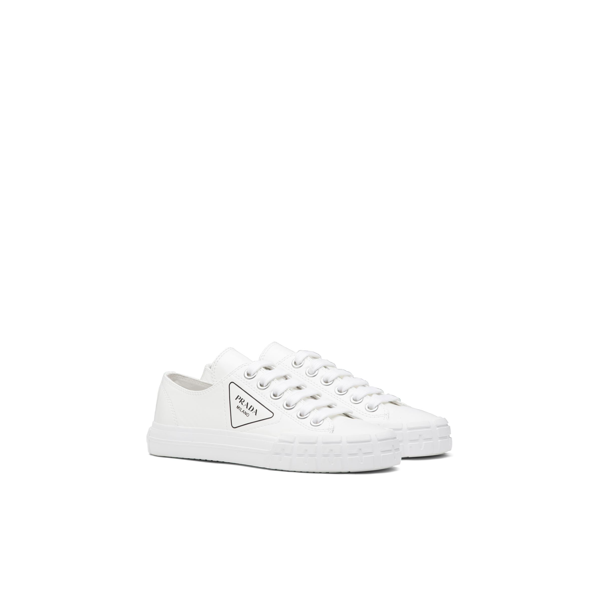 Wheel Patent Leather Sneakers With Vulcanized Rubber Sole Women White