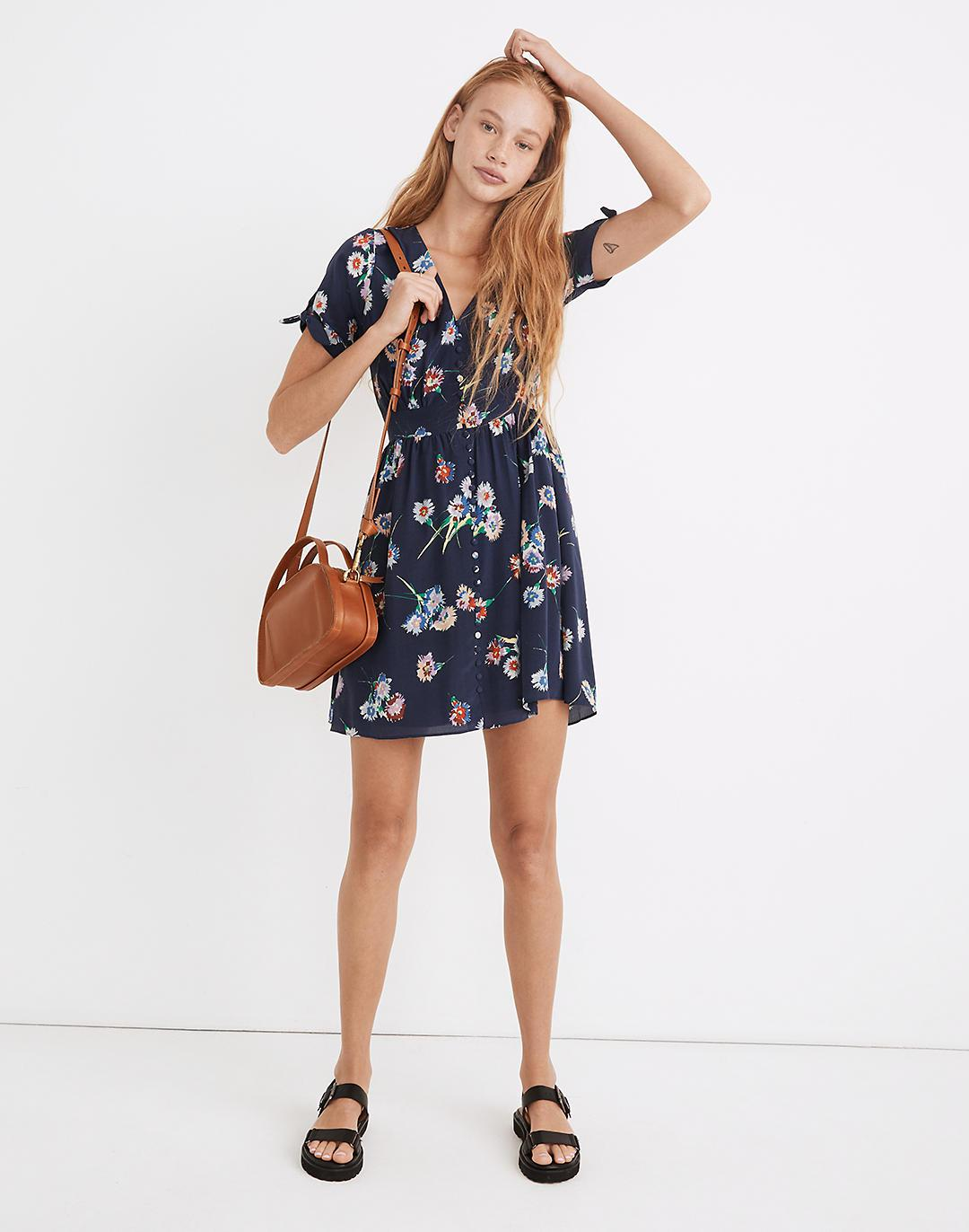 Silk Button-Front Tie-Sleeve Retro Dress in Flutter-By Floral